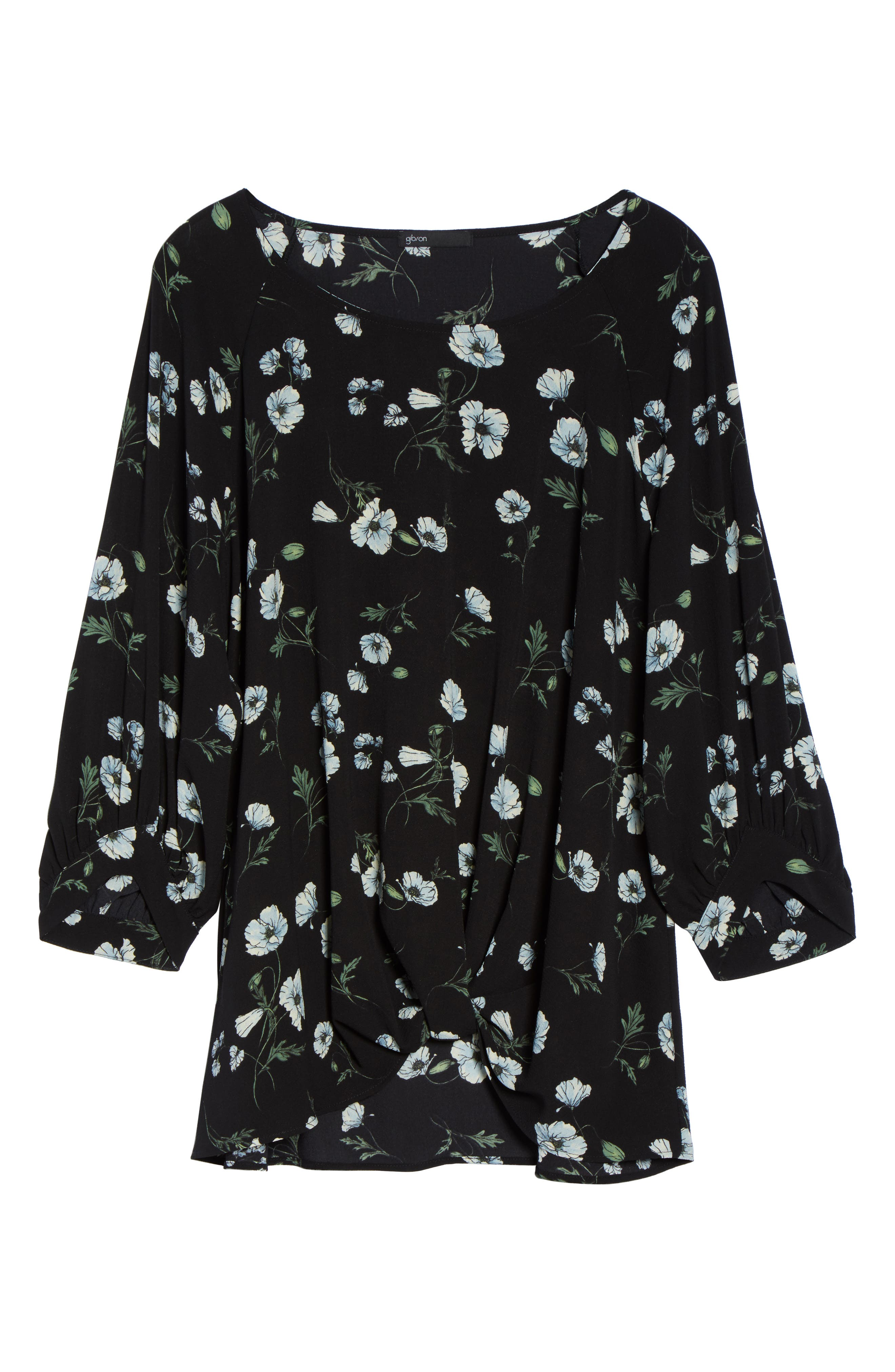 x Living in Yellow Maggie Twist Hem Top,                             Alternate thumbnail 7, color,                             Black Floral