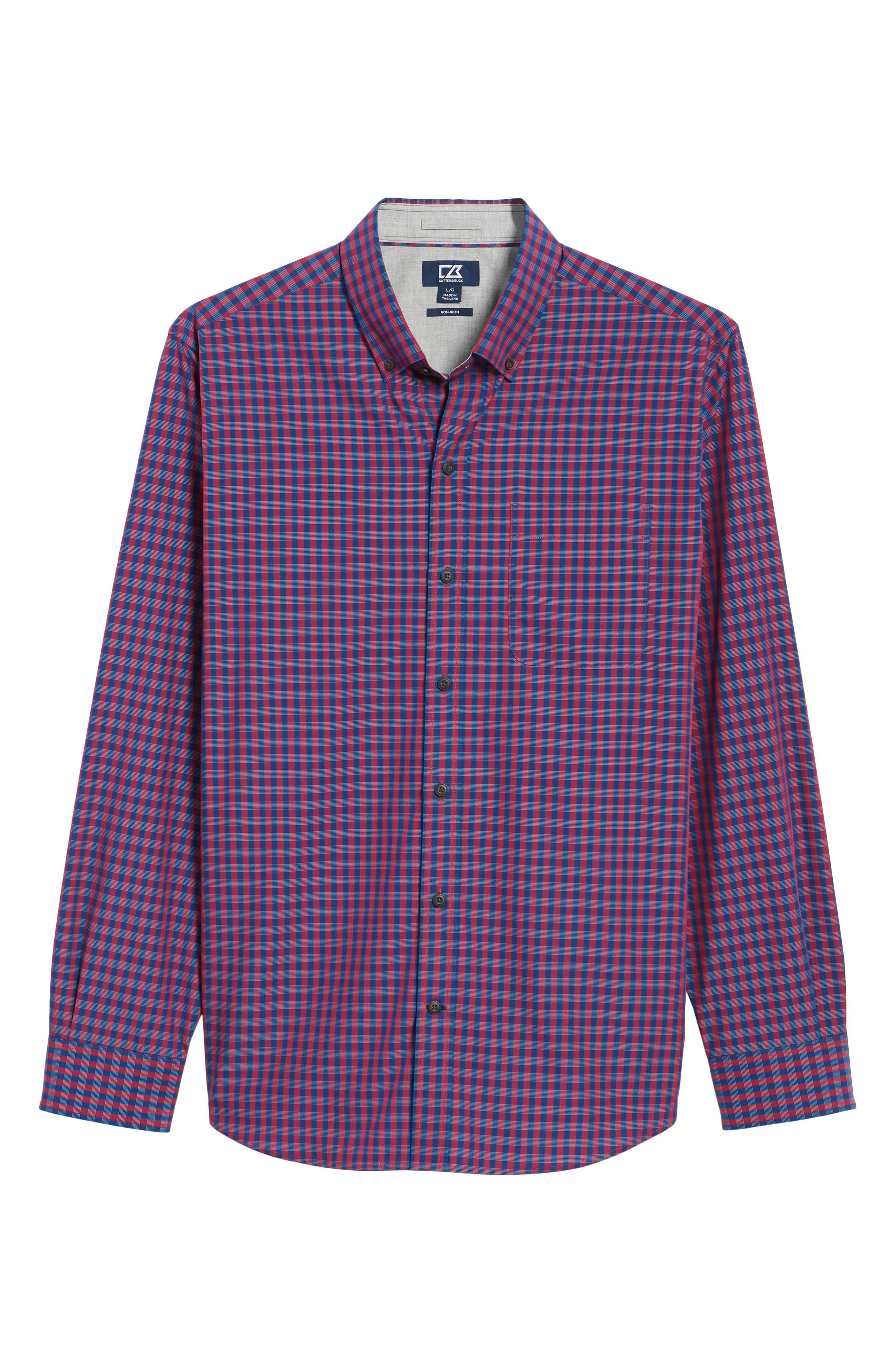 Myles Classic Fit Non-Iron Gingham Sport Shirt,                             Alternate thumbnail 6, color,                             Virtual