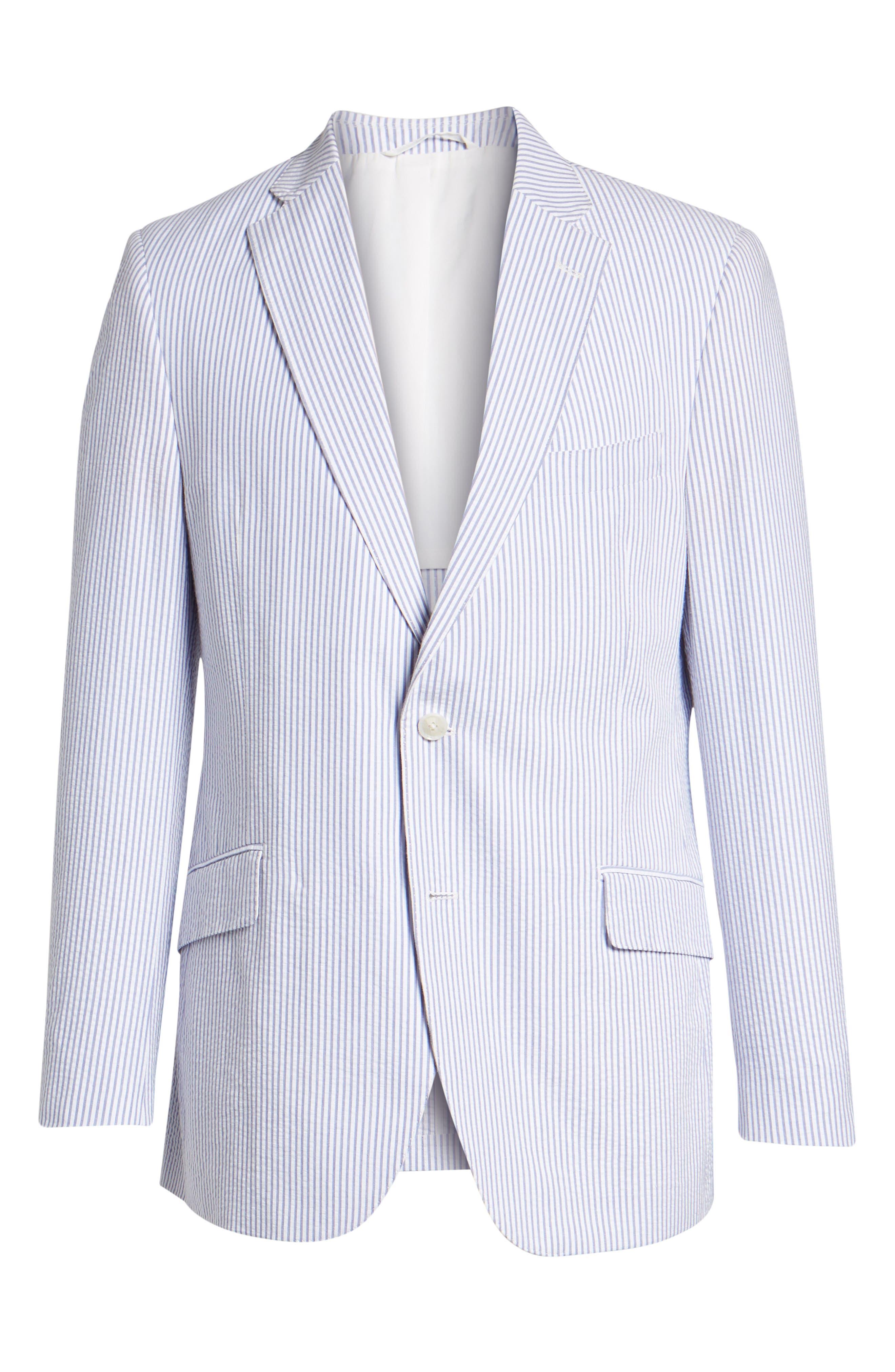 Jack AIM Classic Fit Seersucker Sport Coat,                             Alternate thumbnail 6, color,                             Blue And White