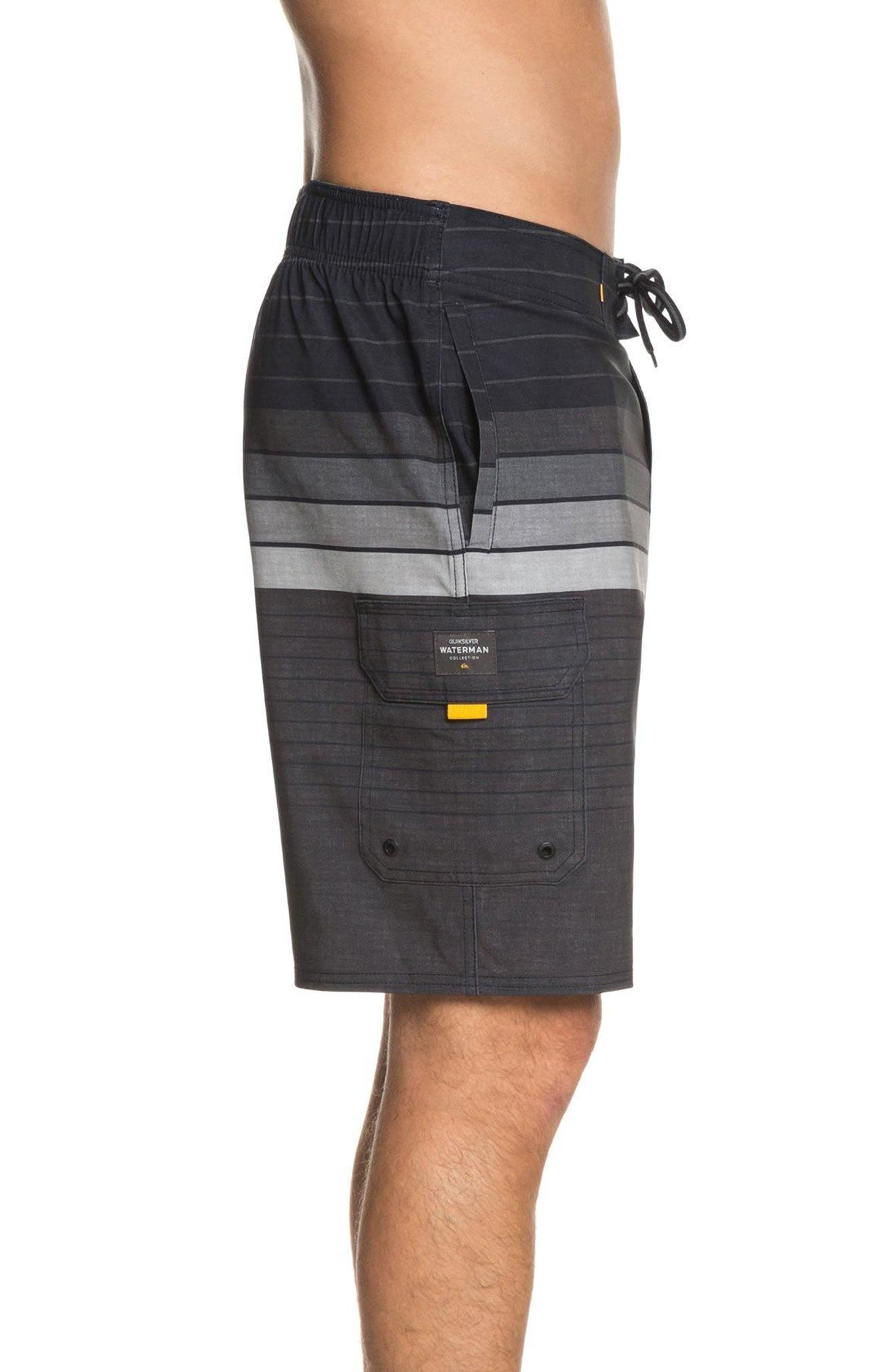 Admiral Stripe Board Shorts,                             Alternate thumbnail 3, color,                             Black