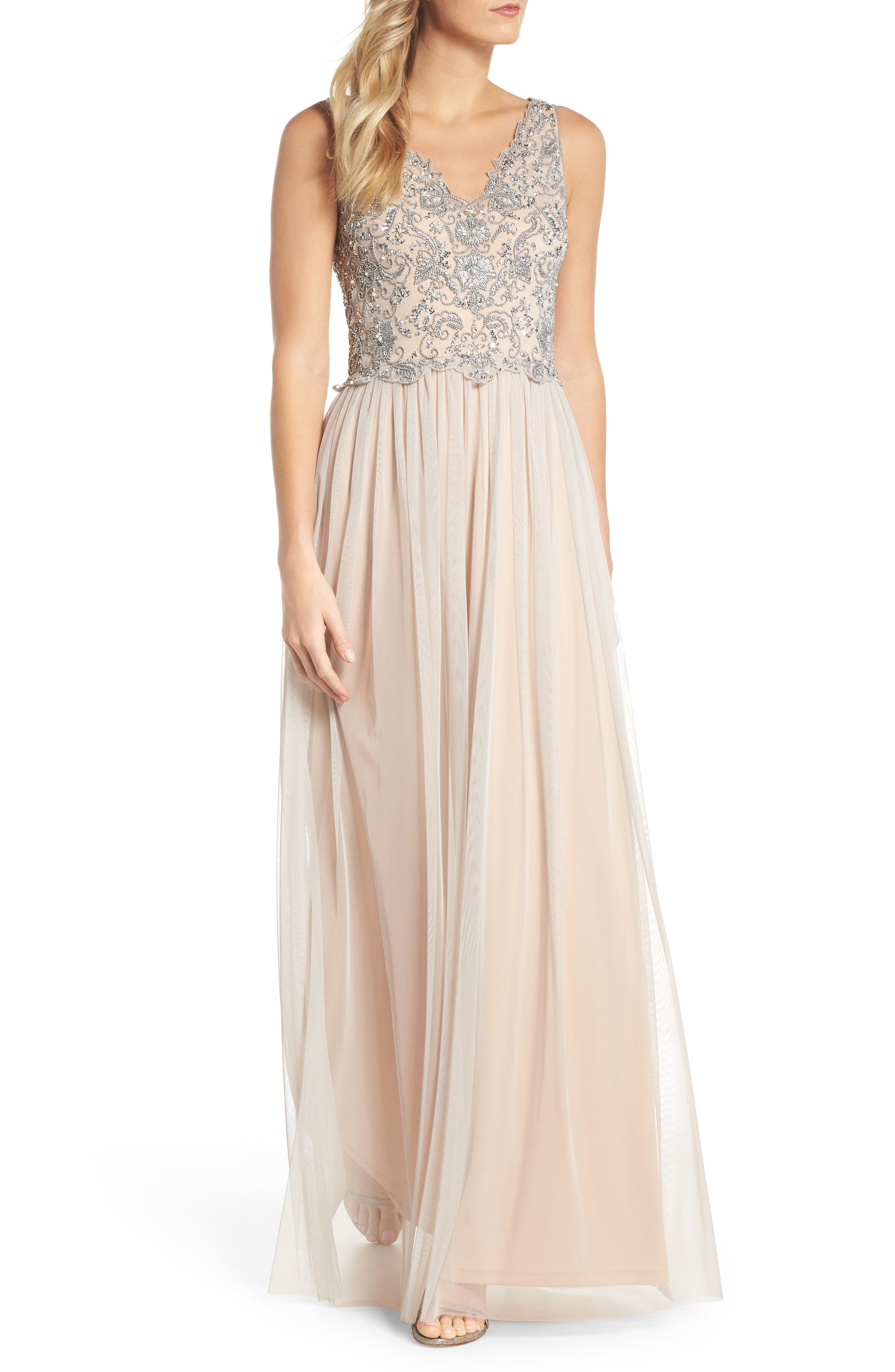 Beaded Mesh Gown,                         Main,                         color, Platinum