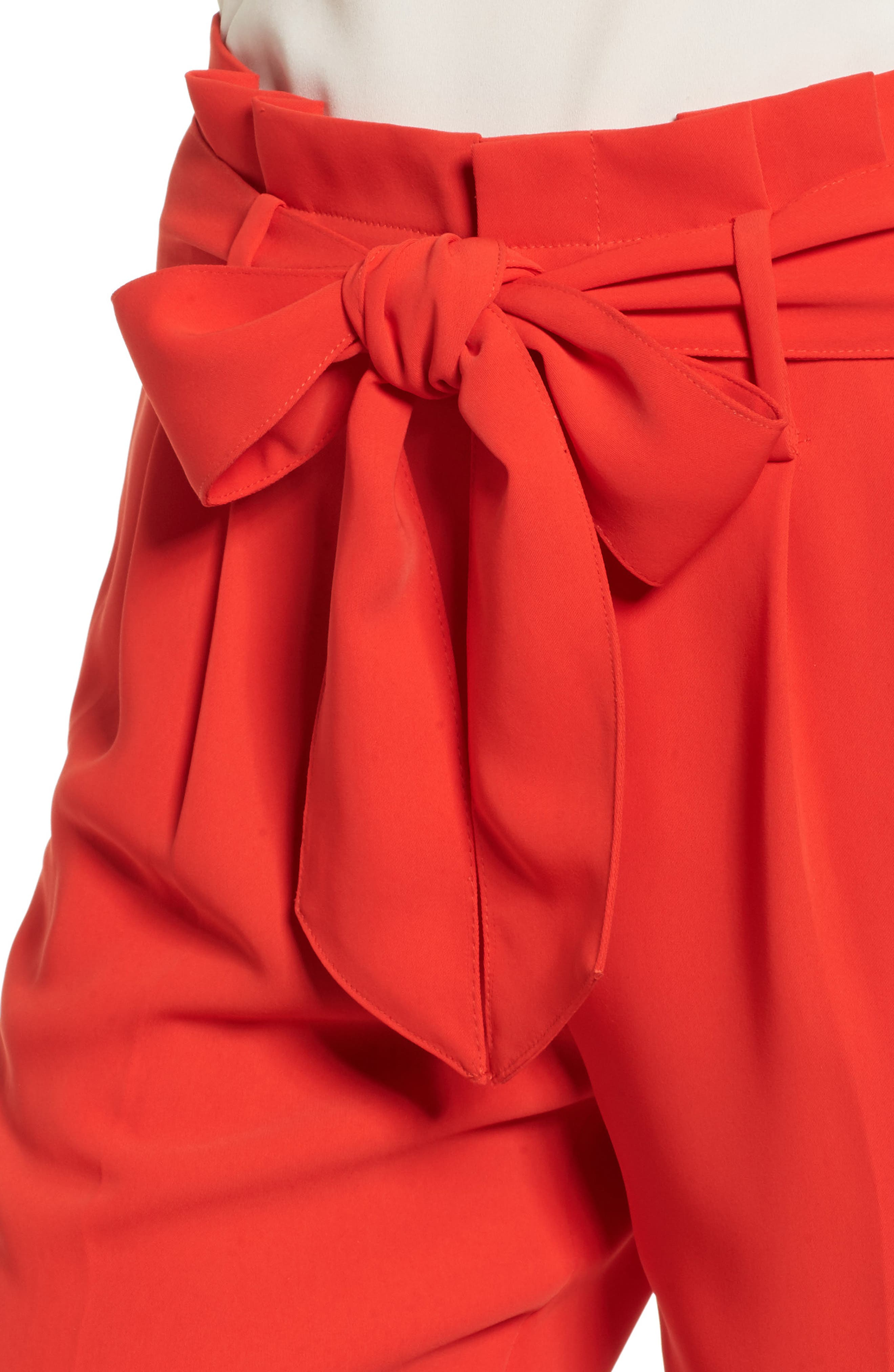 Paperbag Waist Crop Trousers,                             Alternate thumbnail 4, color,                             Red Pop