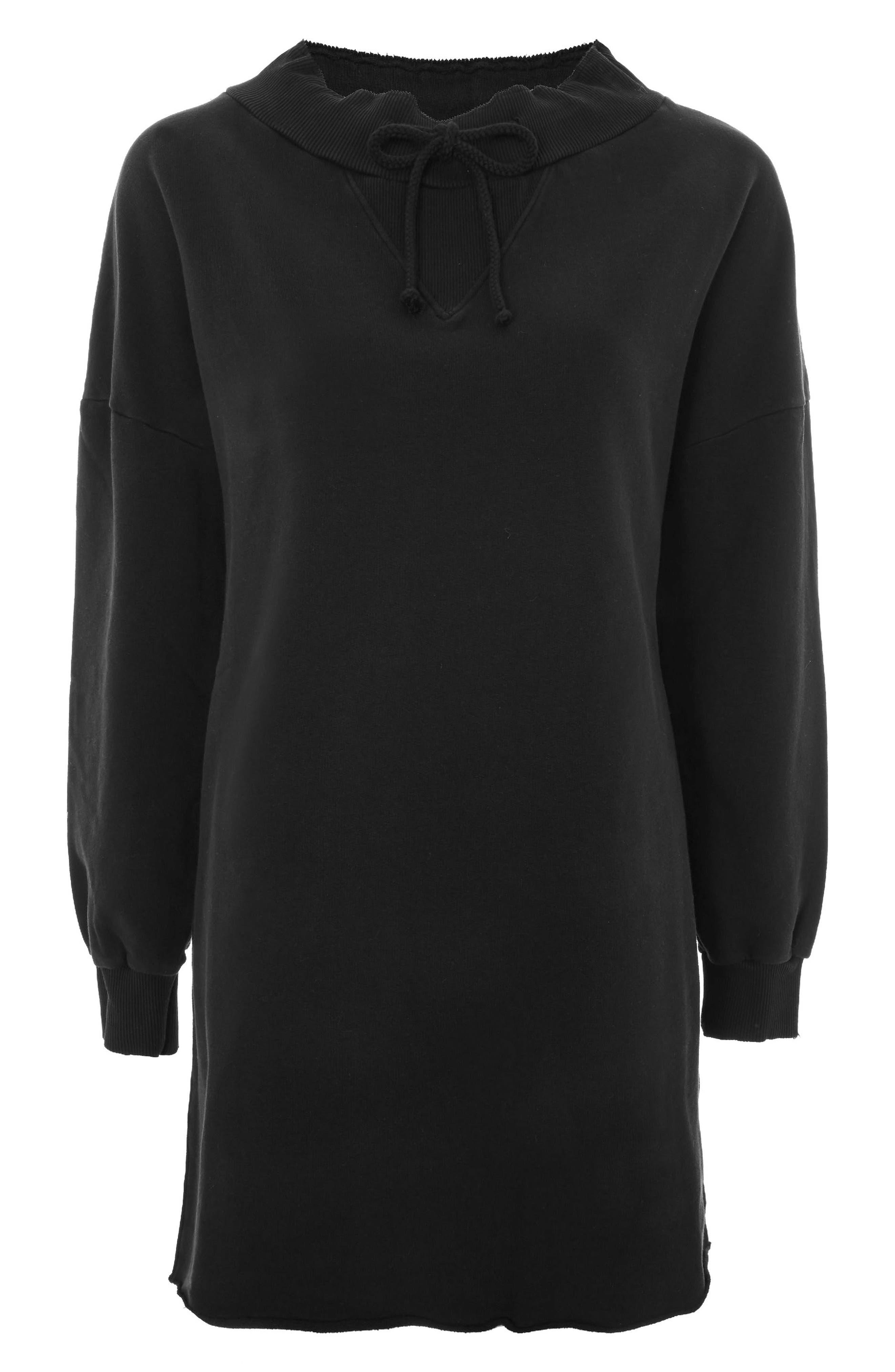 Drawstring Sweater Dress,                         Main,                         color, Black