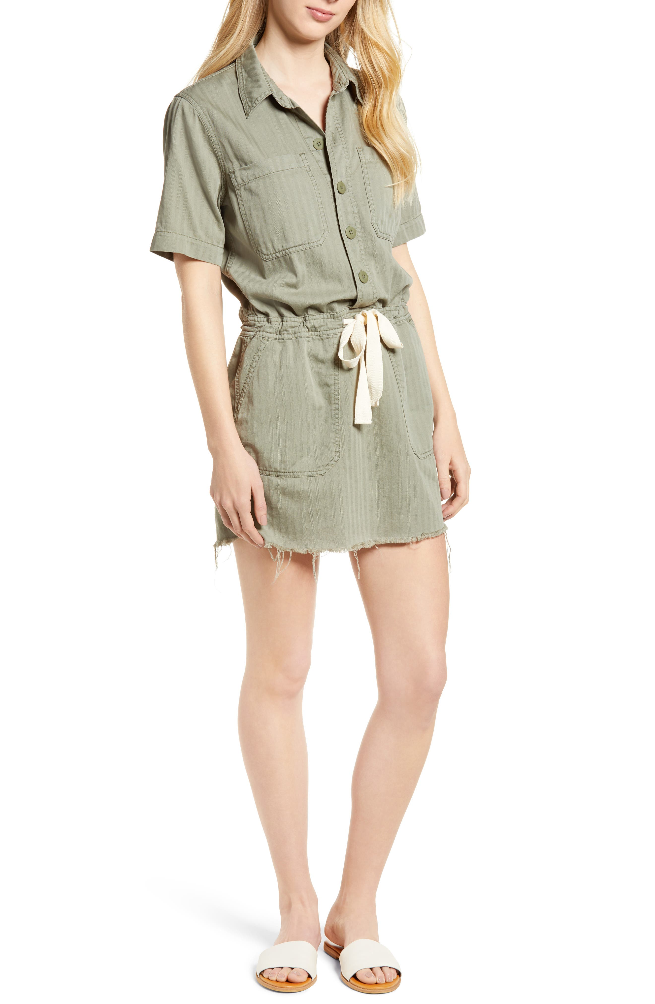 Drawstring Cotton Twill Dress,                             Main thumbnail 1, color,                             Sage Fray