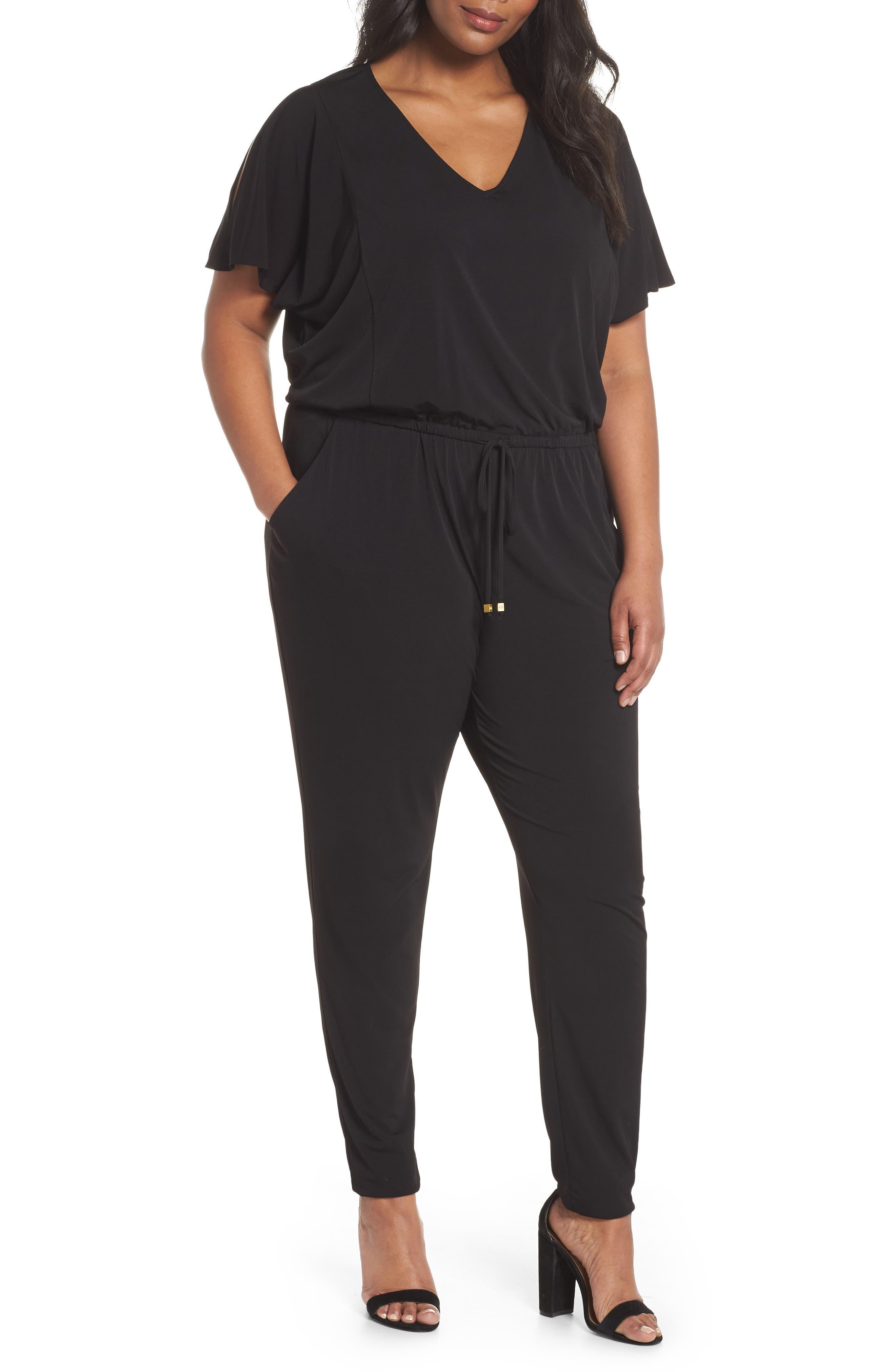 Flutter Sleeve Jersey Jumpsuit,                         Main,                         color, Black