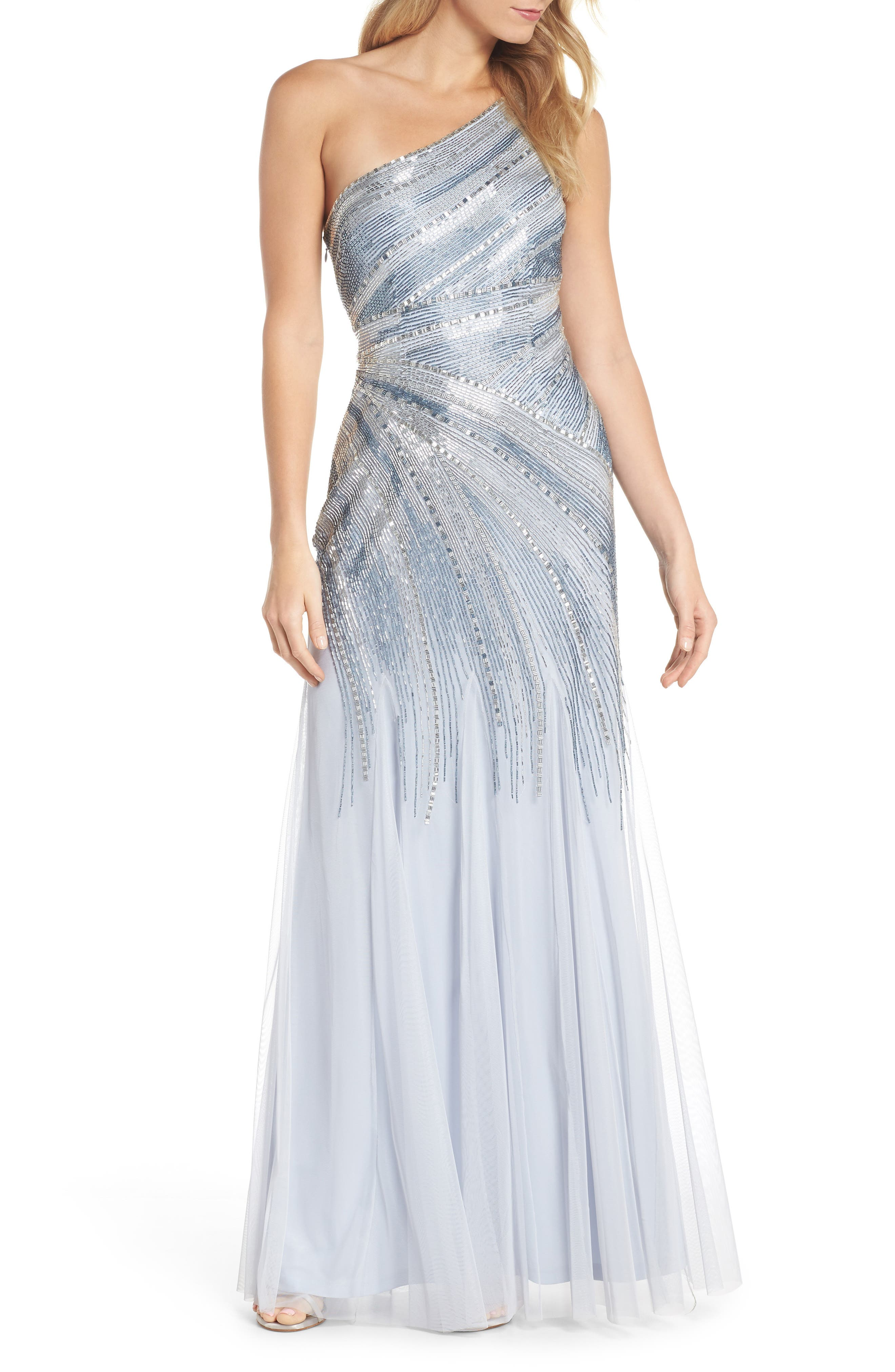 Beaded One-Shoulder Mermaid Gown,                         Main,                         color, Serenity