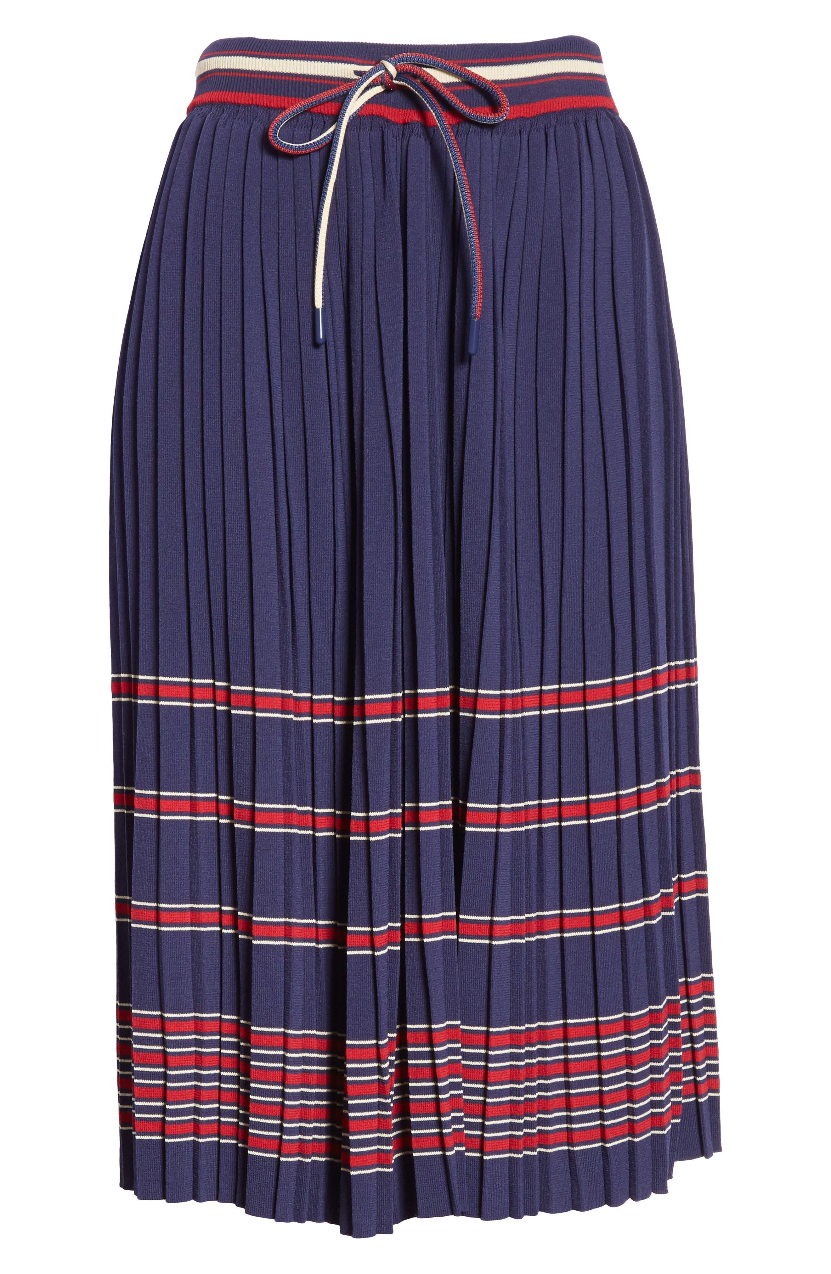 Pleated Midi Skirt,                             Alternate thumbnail 6, color,                             Navy