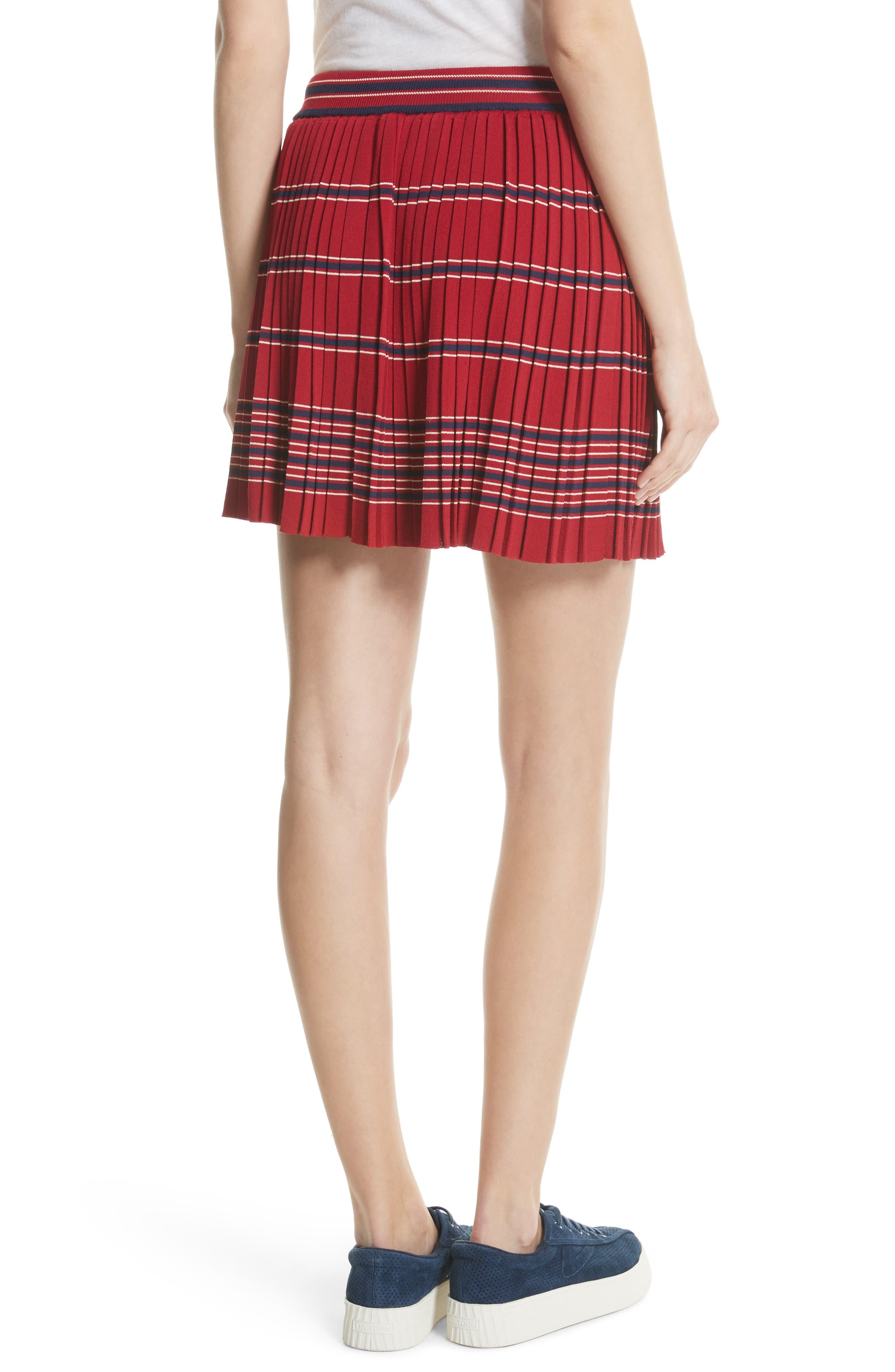 Pleated Miniskirt,                             Alternate thumbnail 3, color,                             Bordeaux