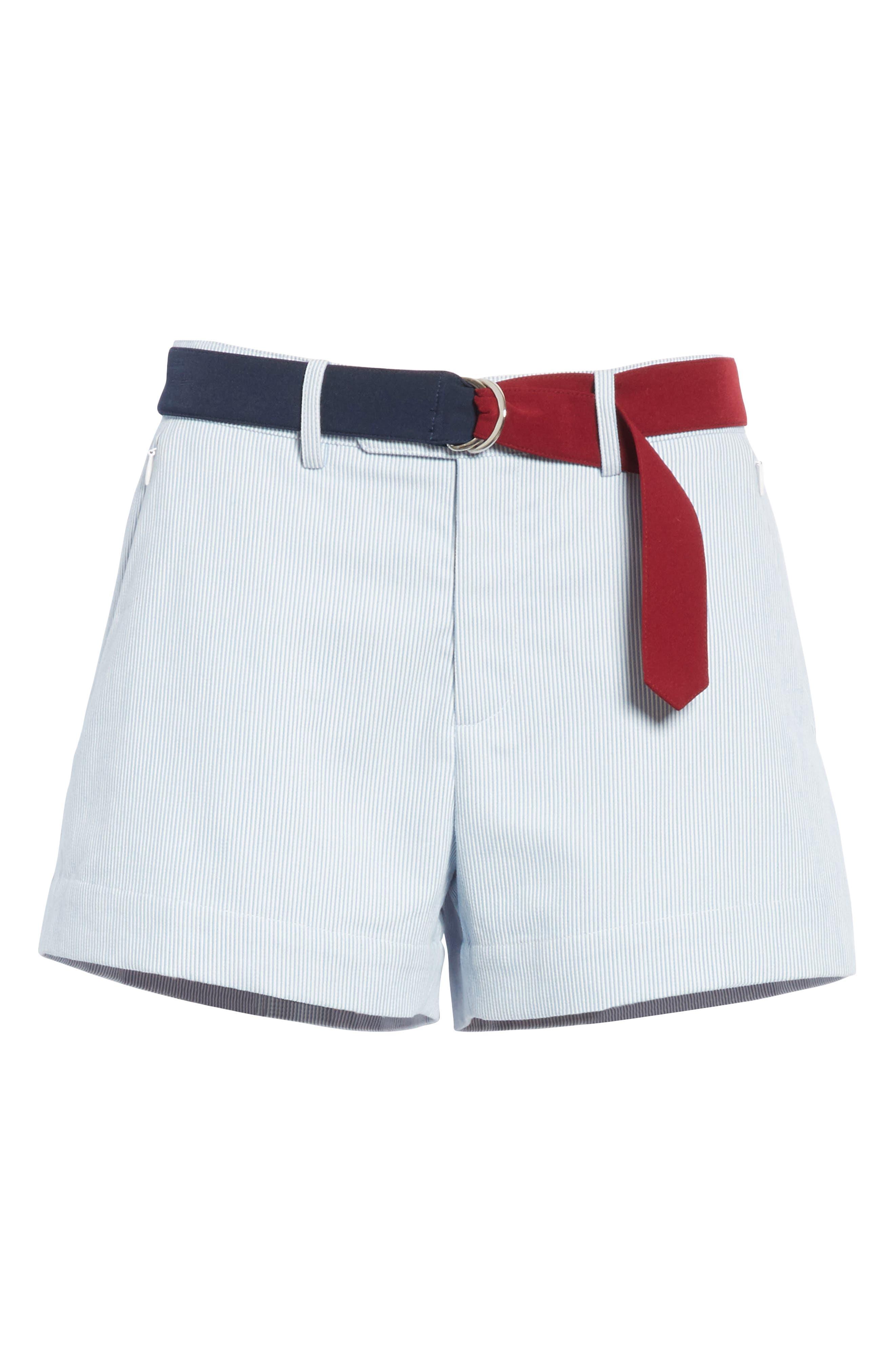 Multi Belt Shorts,                             Alternate thumbnail 6, color,                             Chambray Blue