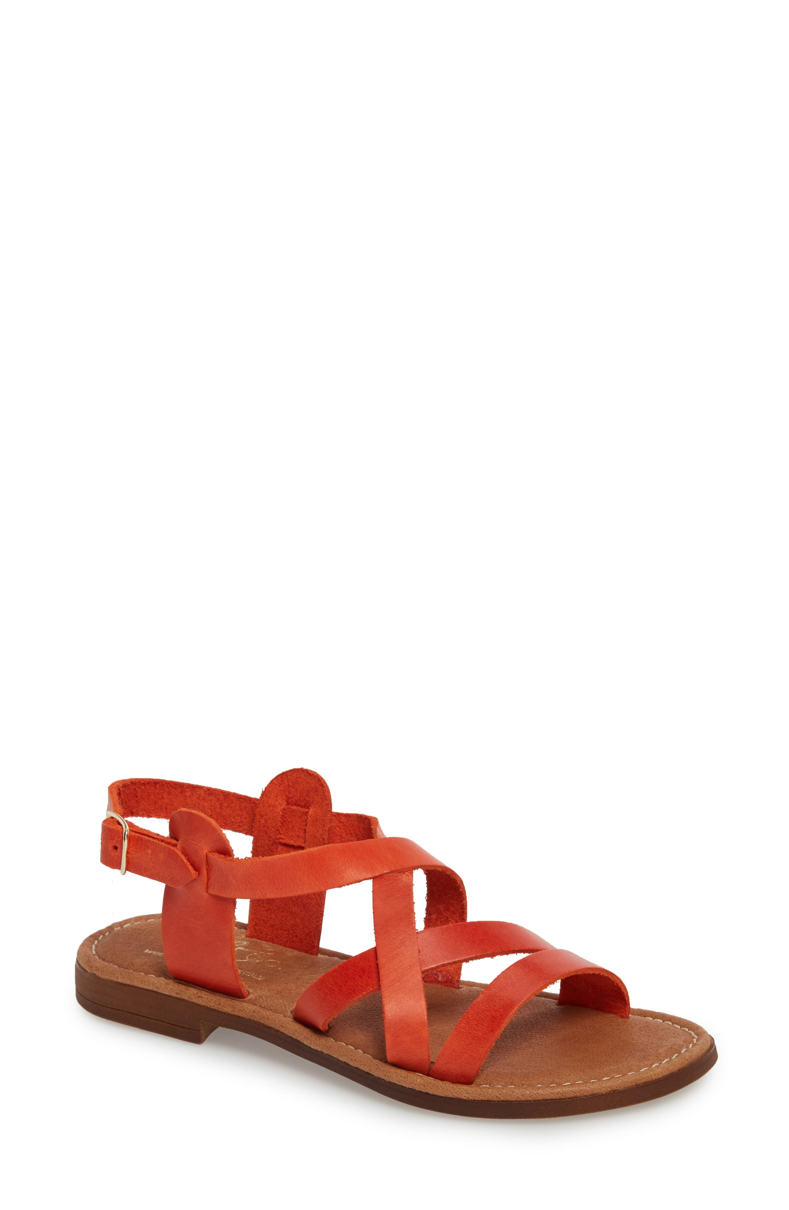 Ionna Sandal,                             Main thumbnail 1, color,                             Tangerine Leather