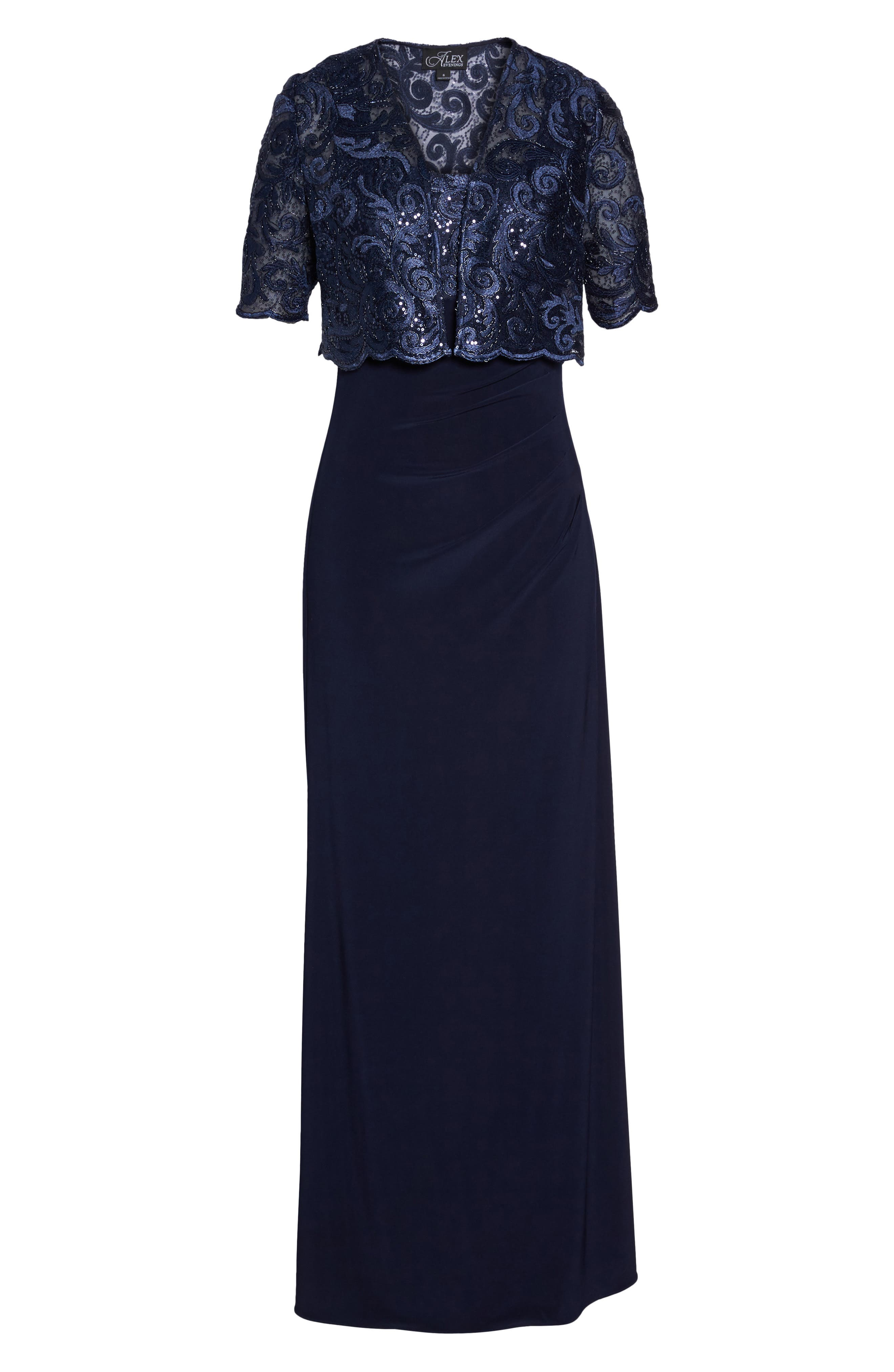 Sequin Embellished Gown with Bolero Jacket,                             Alternate thumbnail 6, color,                             Navy