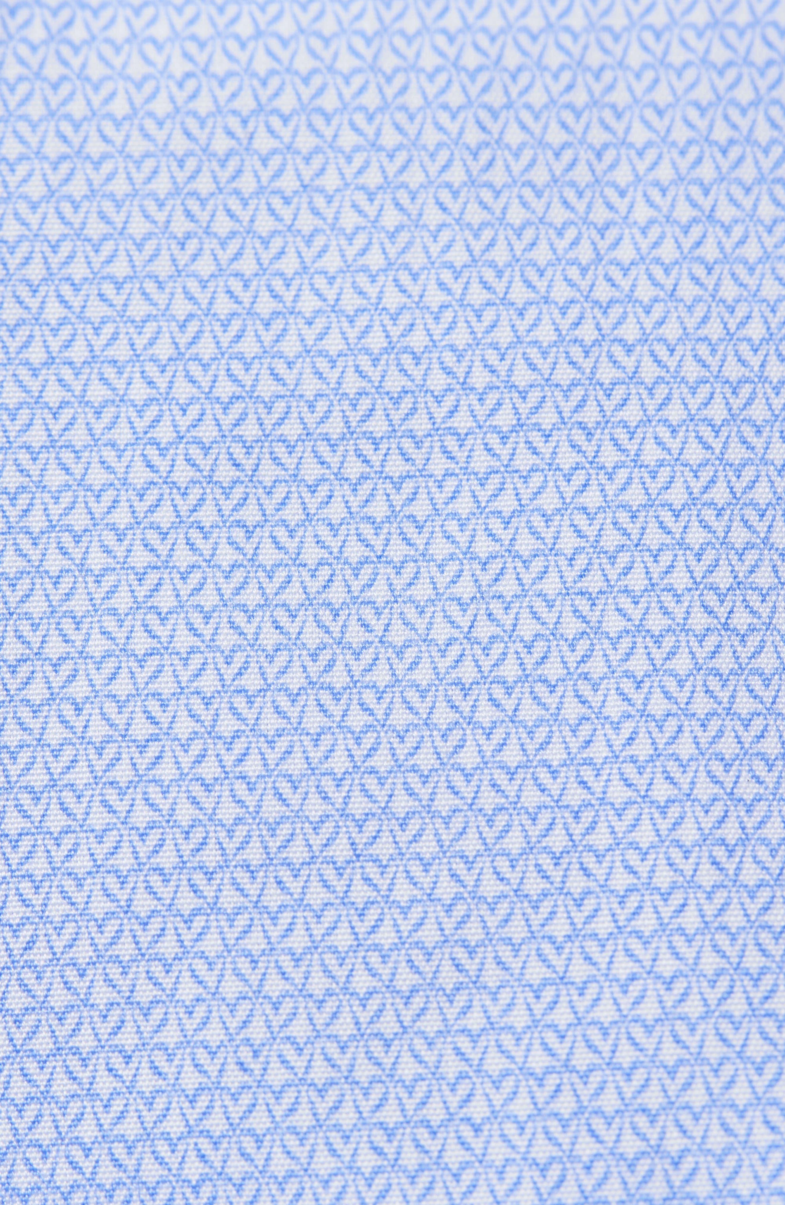 Slim Fit Print Dress Shirt,                             Alternate thumbnail 3, color,                             Blue