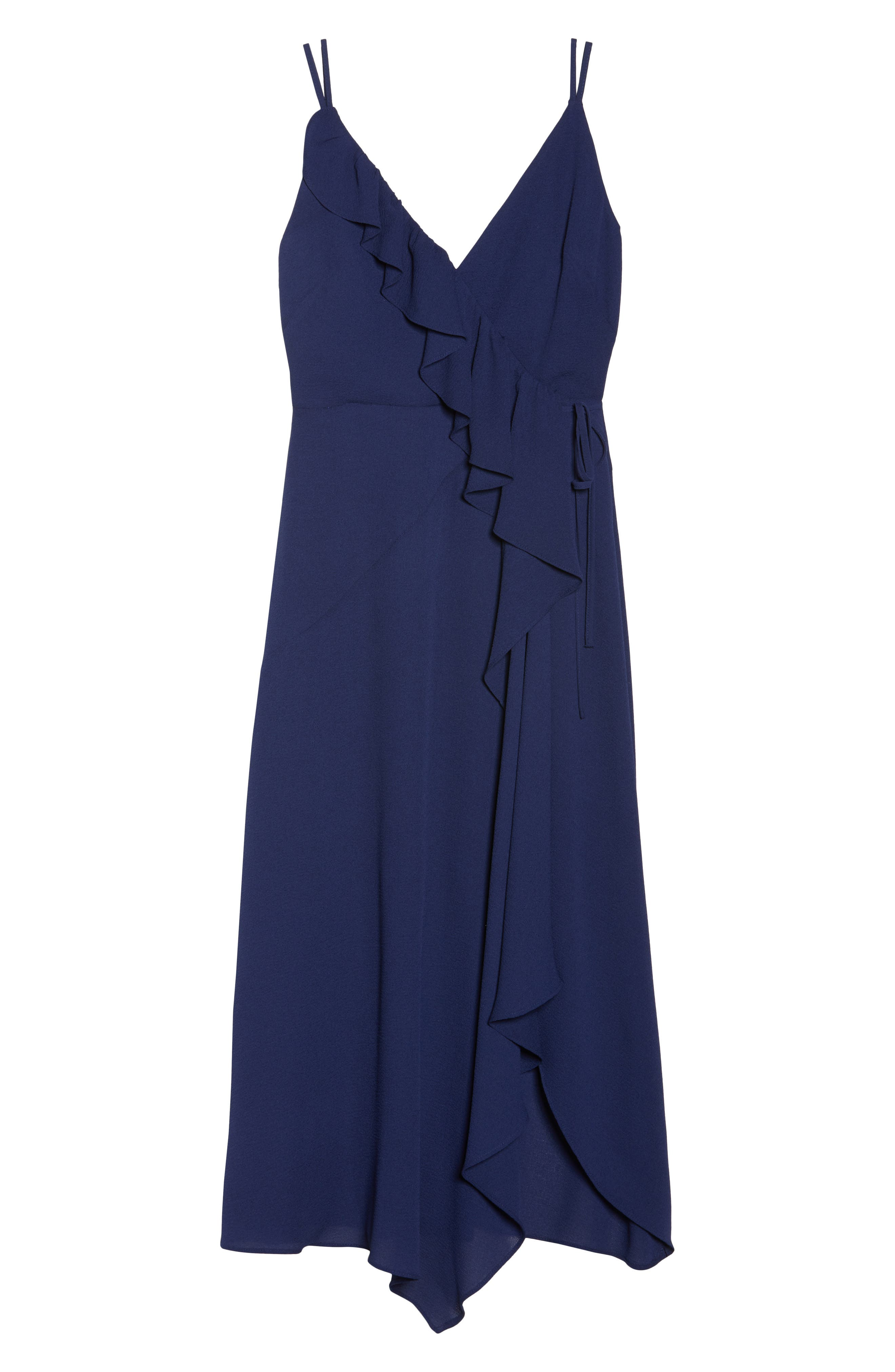 Georgette Faux Wrap Dress,                             Alternate thumbnail 7, color,                             Navy