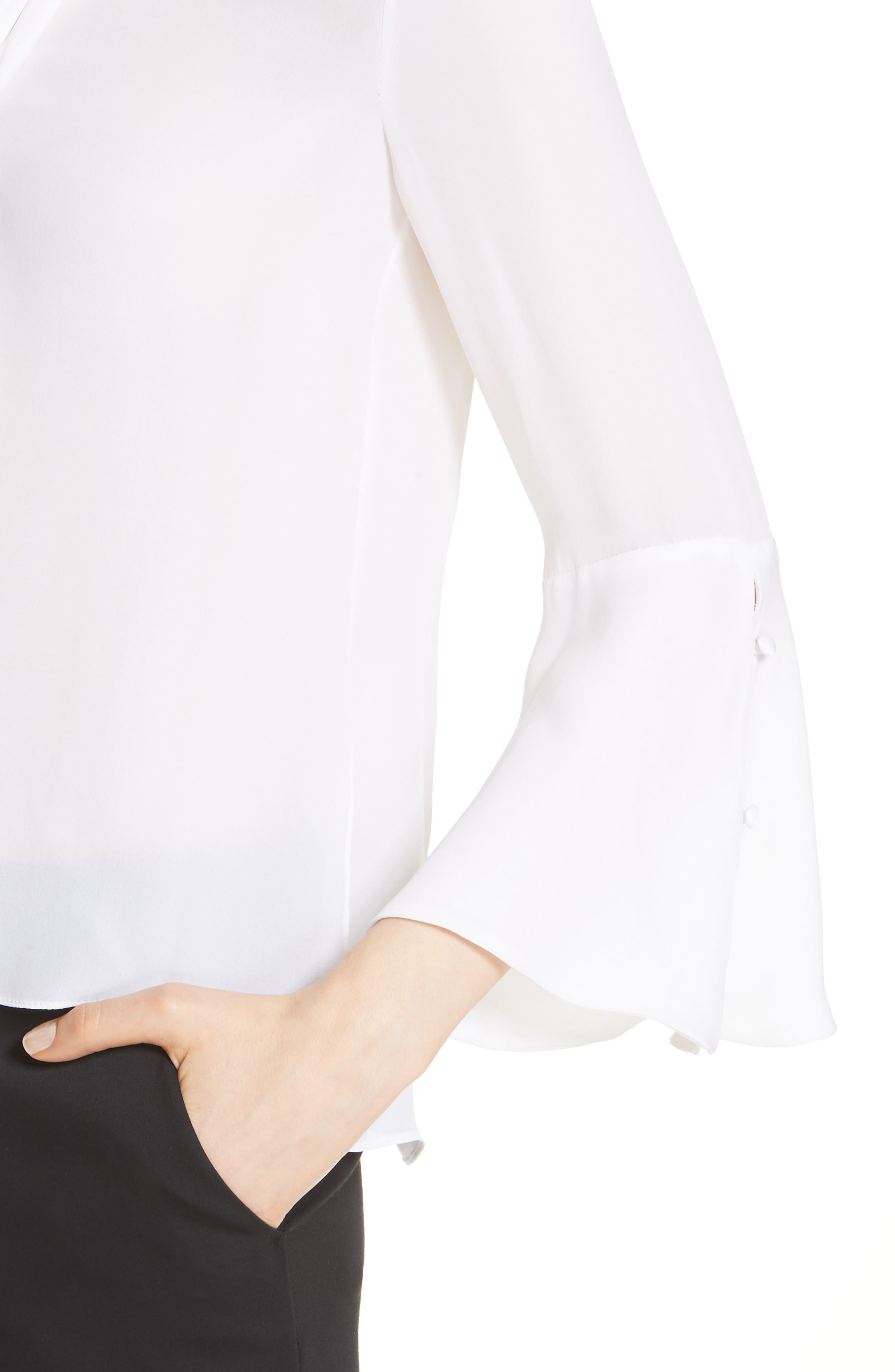 Meredith Tie Neck Silk Blouse,                             Alternate thumbnail 4, color,                             White