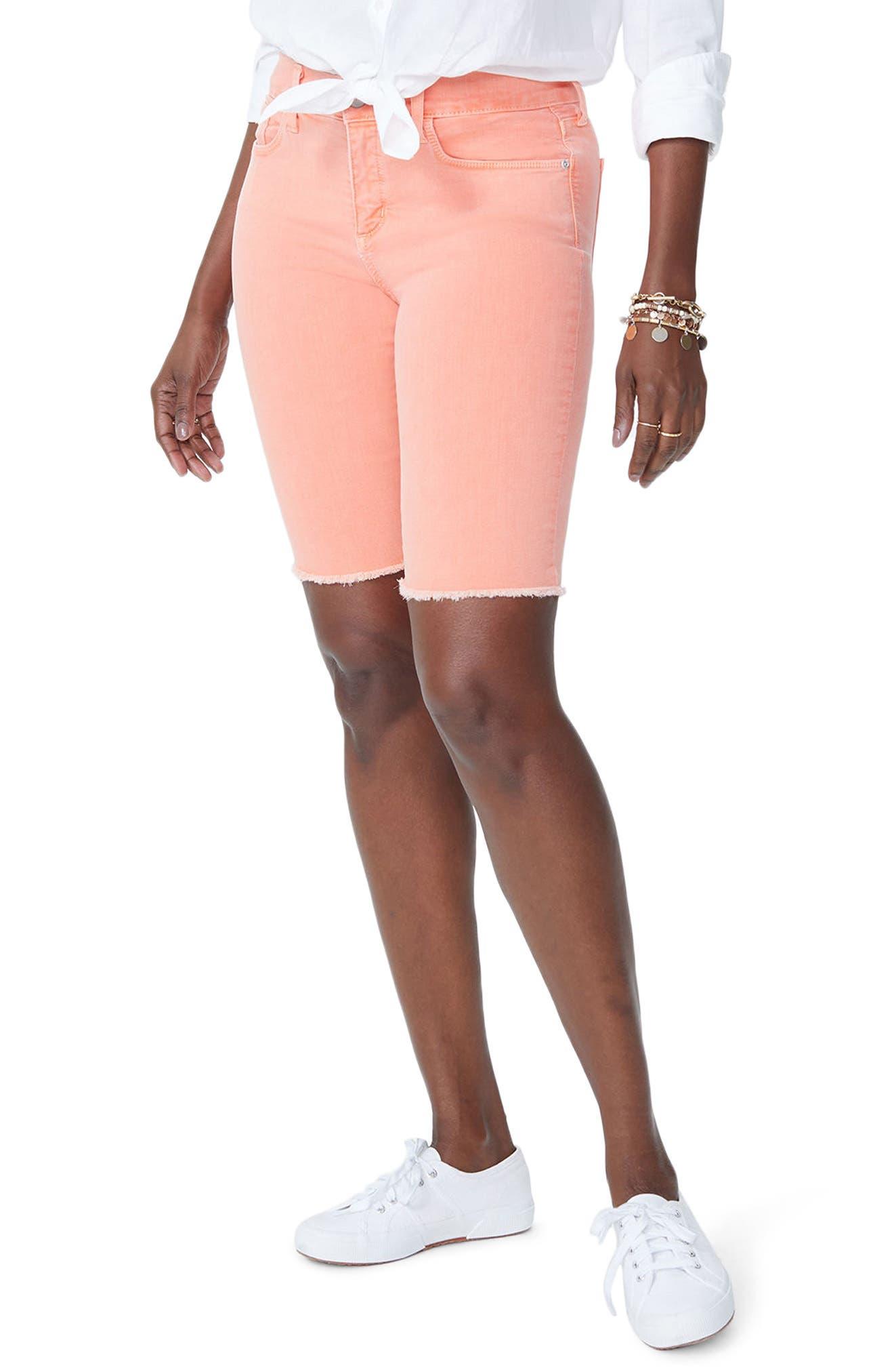 Briella Frayed Hem Bermuda Shorts,                         Main,                         color, Pale Desert Flower