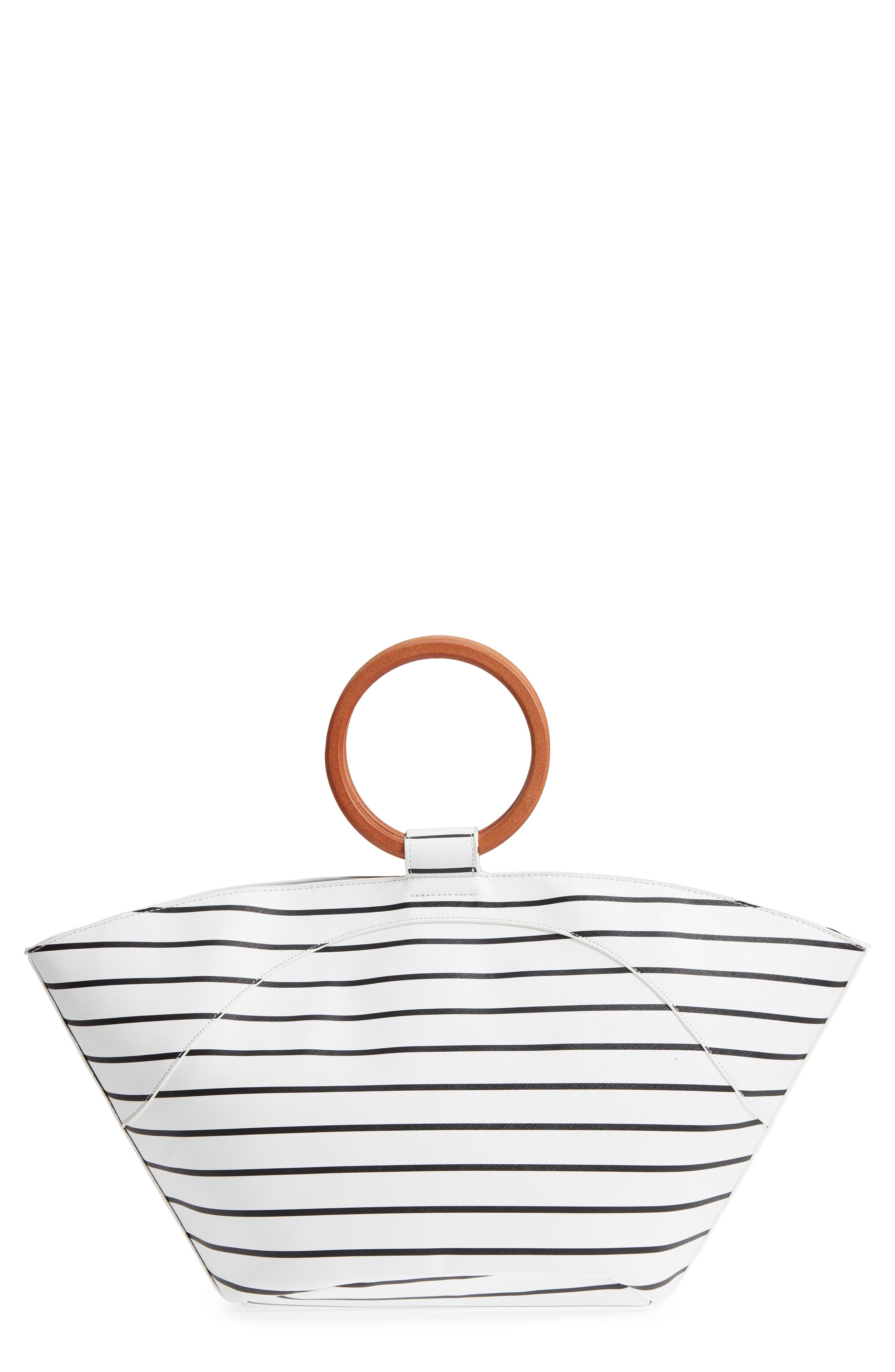 Wooden Ring Stripe Tote,                         Main,                         color, Black/ White