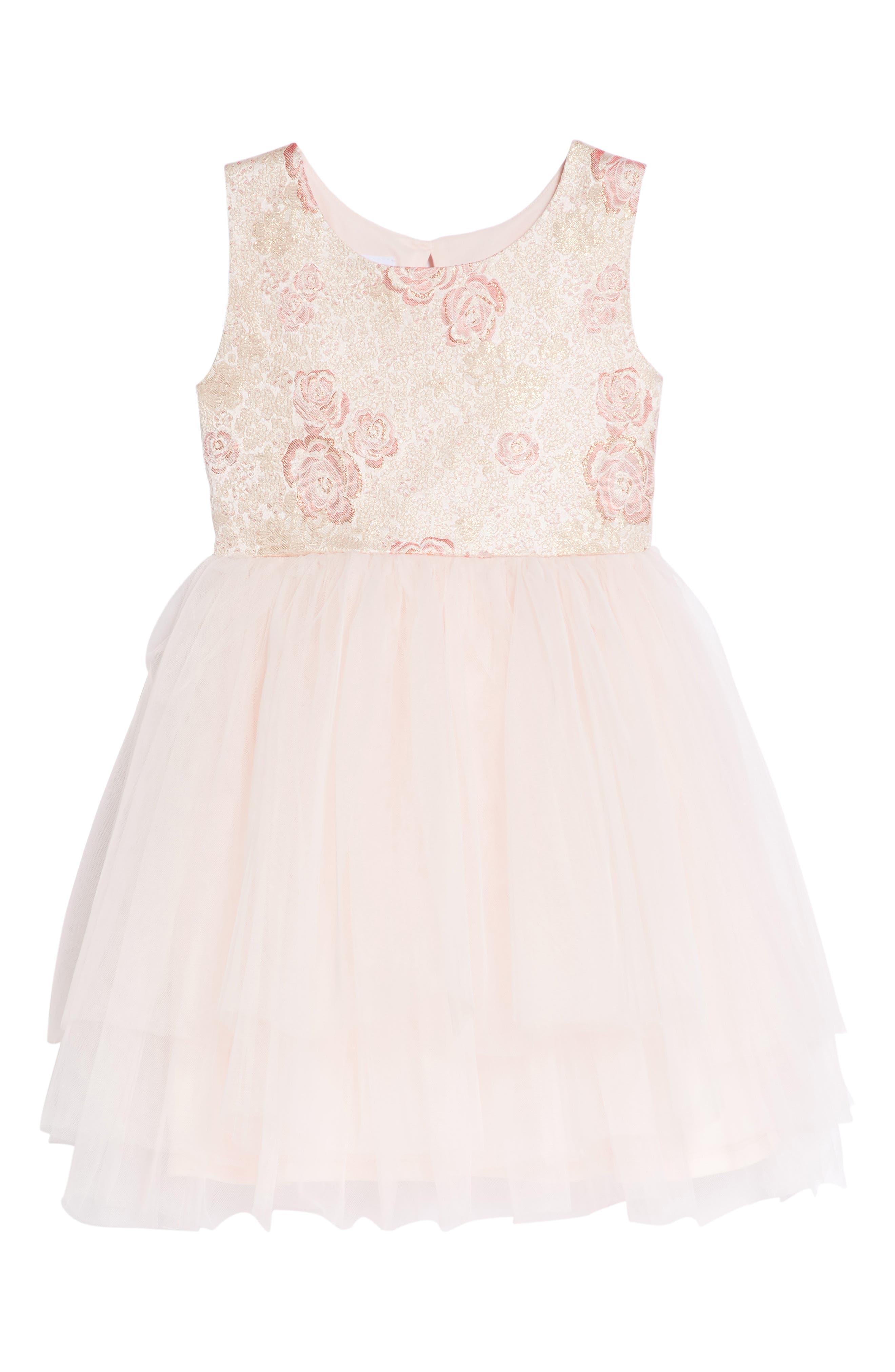 Rose Jacquard Fit & Flare Dress,                             Main thumbnail 1, color,                             Light Pink