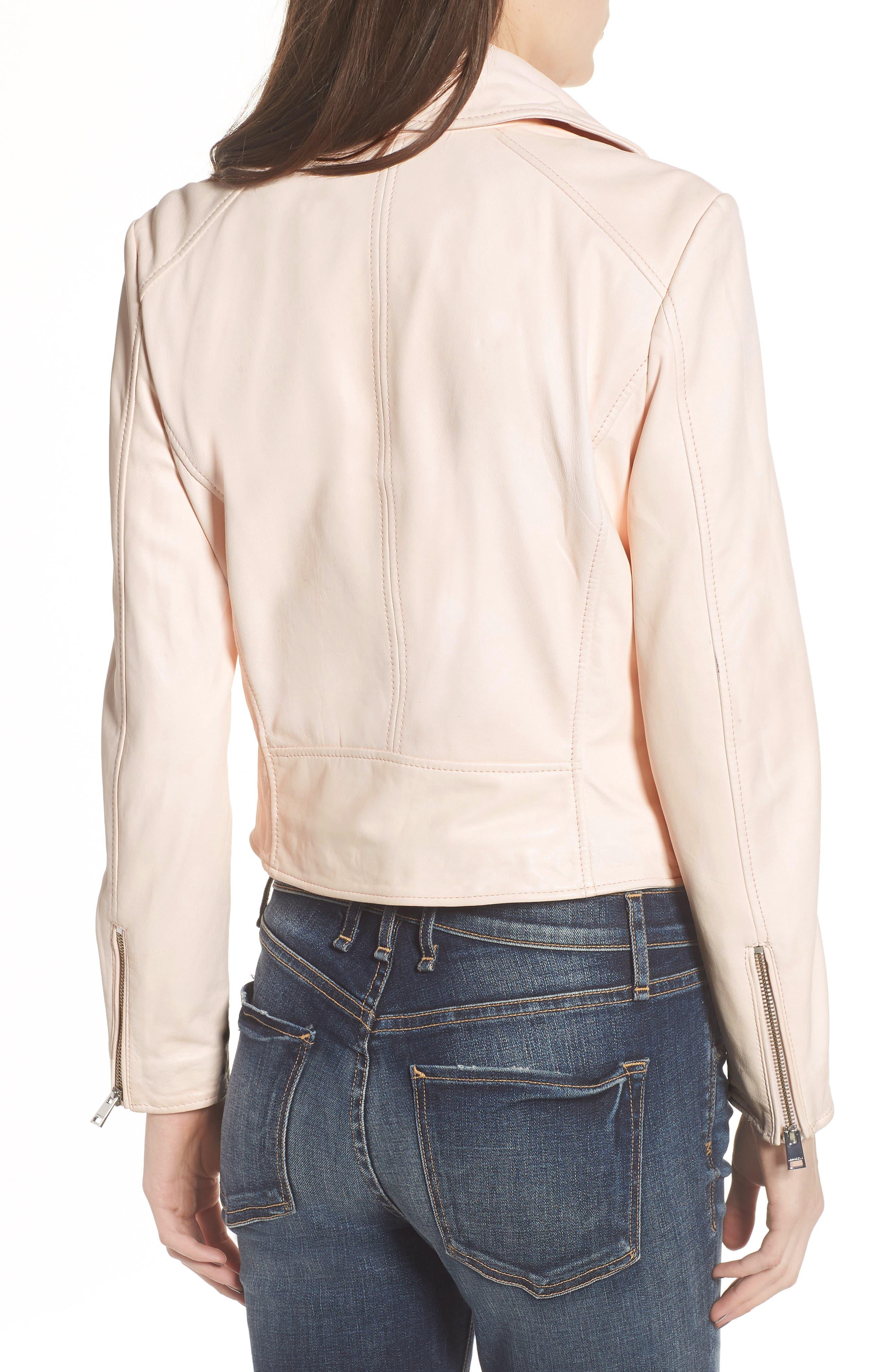 Eco-Friendly Leather Moto Jacket,                             Alternate thumbnail 2, color,                             Light Pink