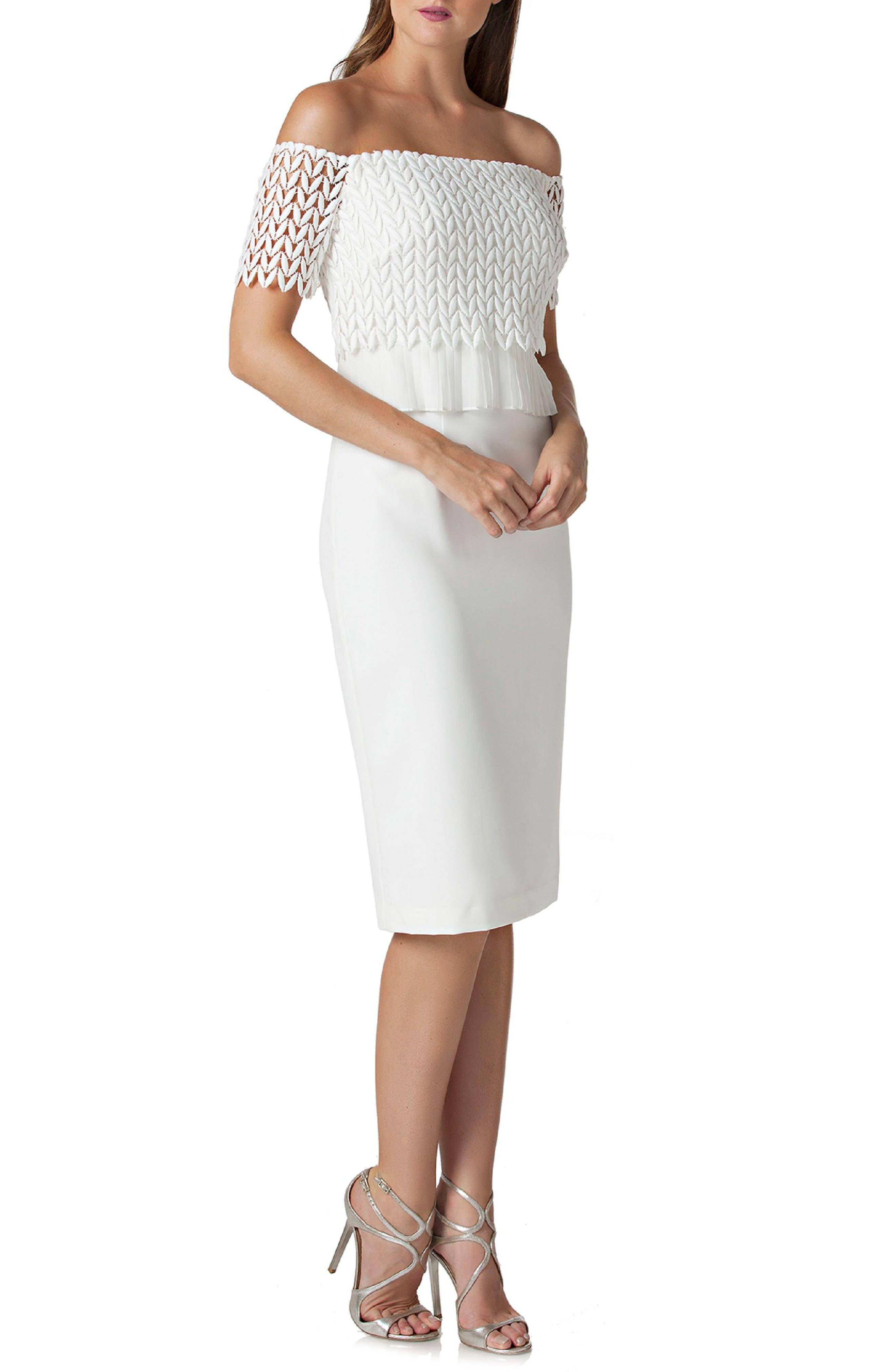 Off the Shoulder Lace Sheath Dress,                             Main thumbnail 1, color,                             Ivory