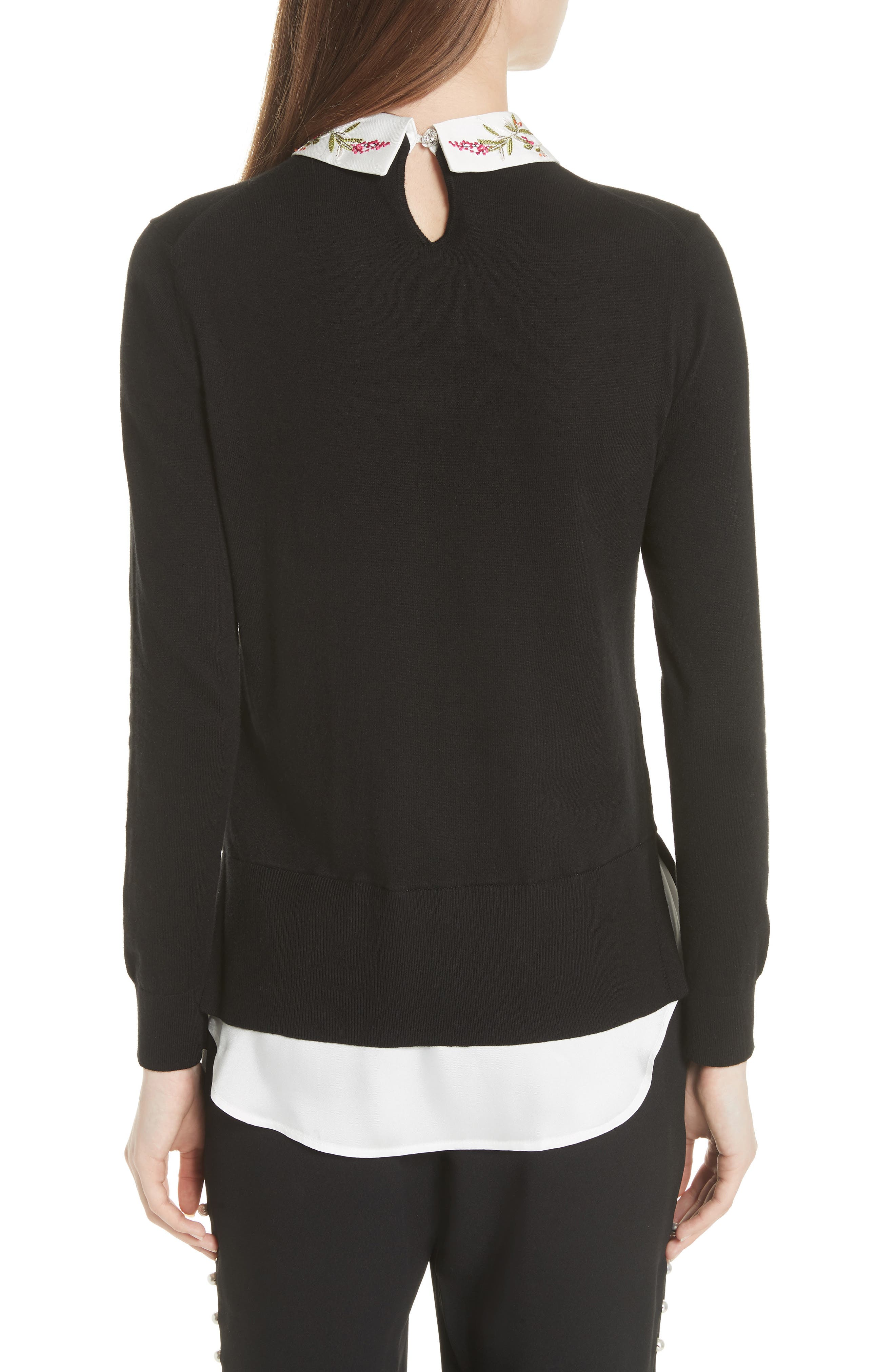 Highgrove Layered Look Sweater,                             Alternate thumbnail 2, color,                             Black