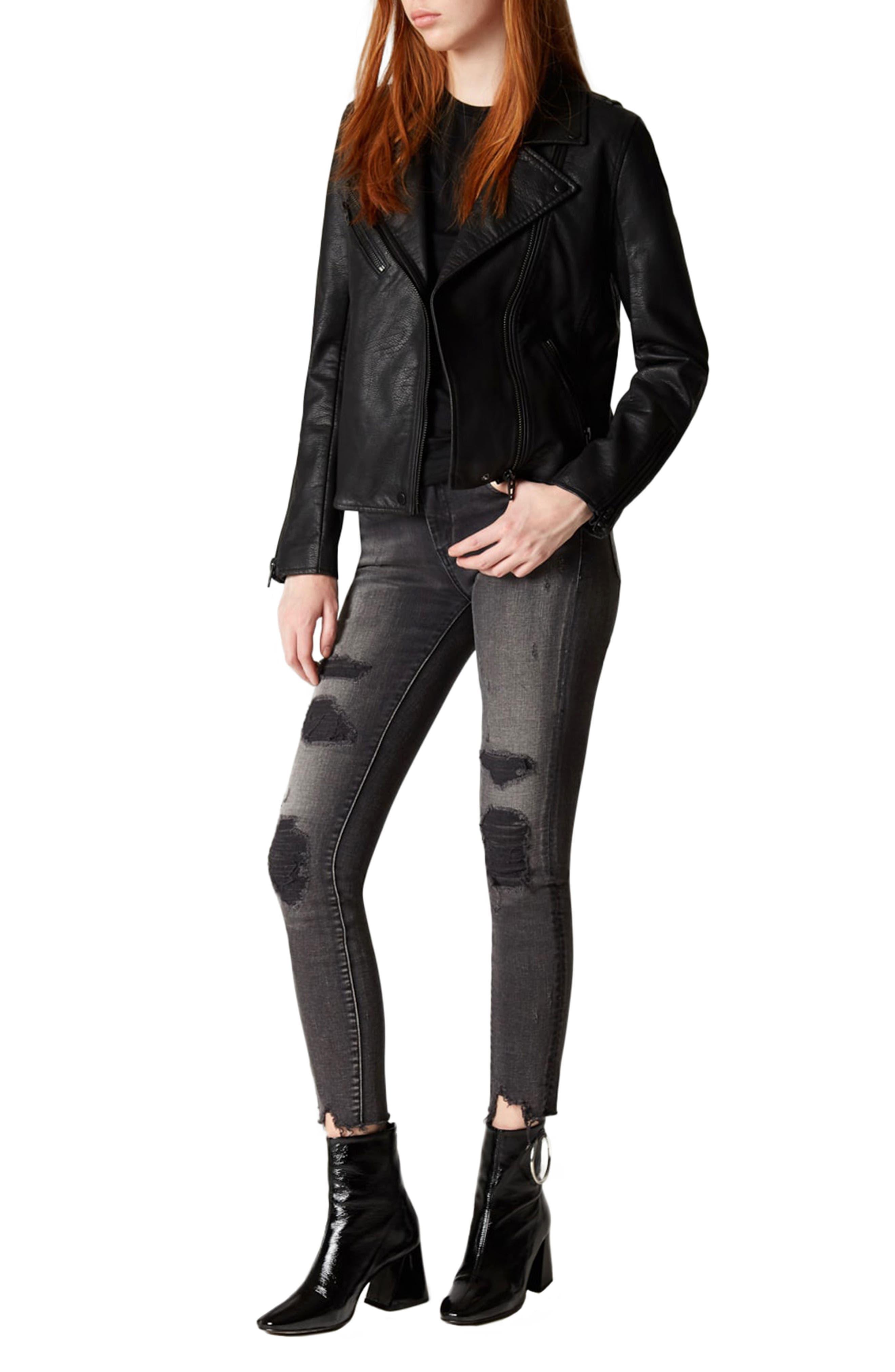 Faux Leather Moto Jacket,                             Alternate thumbnail 2, color,                             Onyx