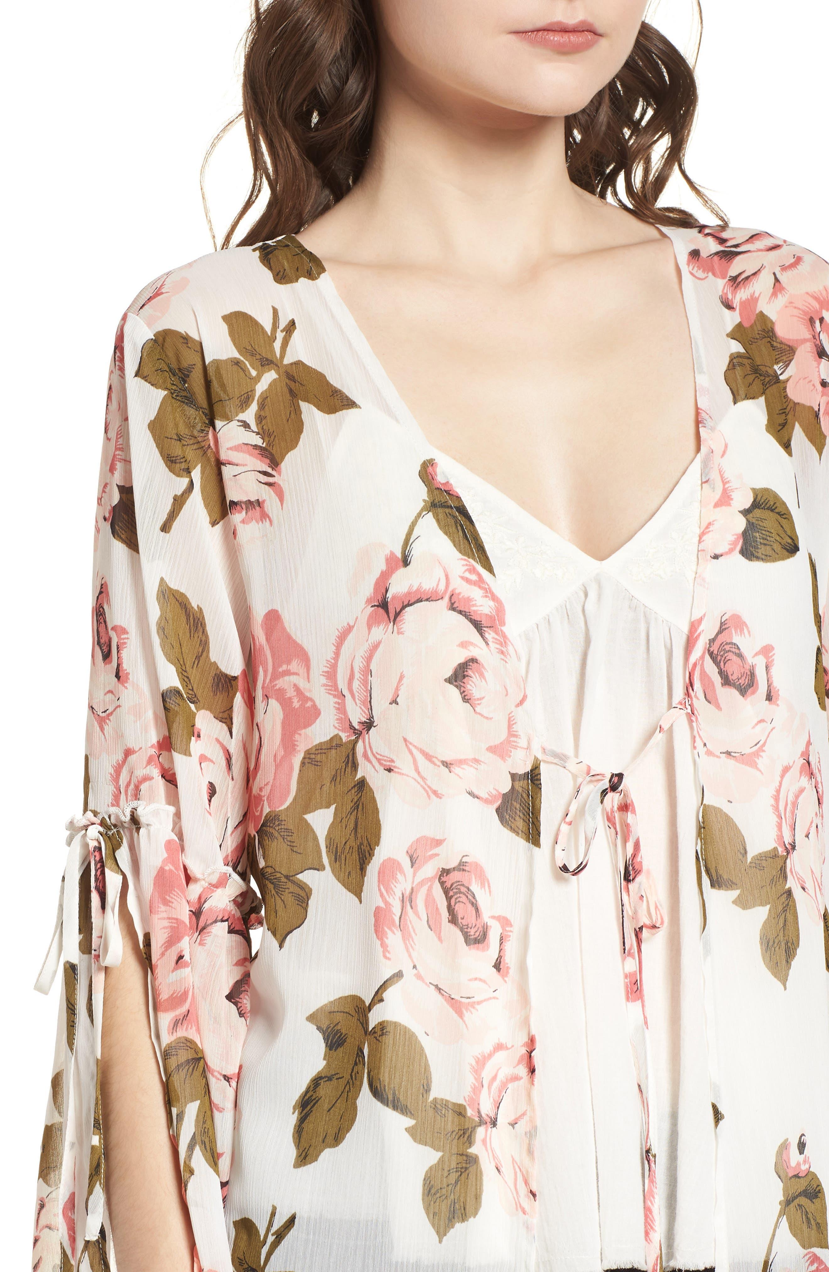 Tie Sleeve Kimono,                             Alternate thumbnail 4, color,                             Ivory Rose Print