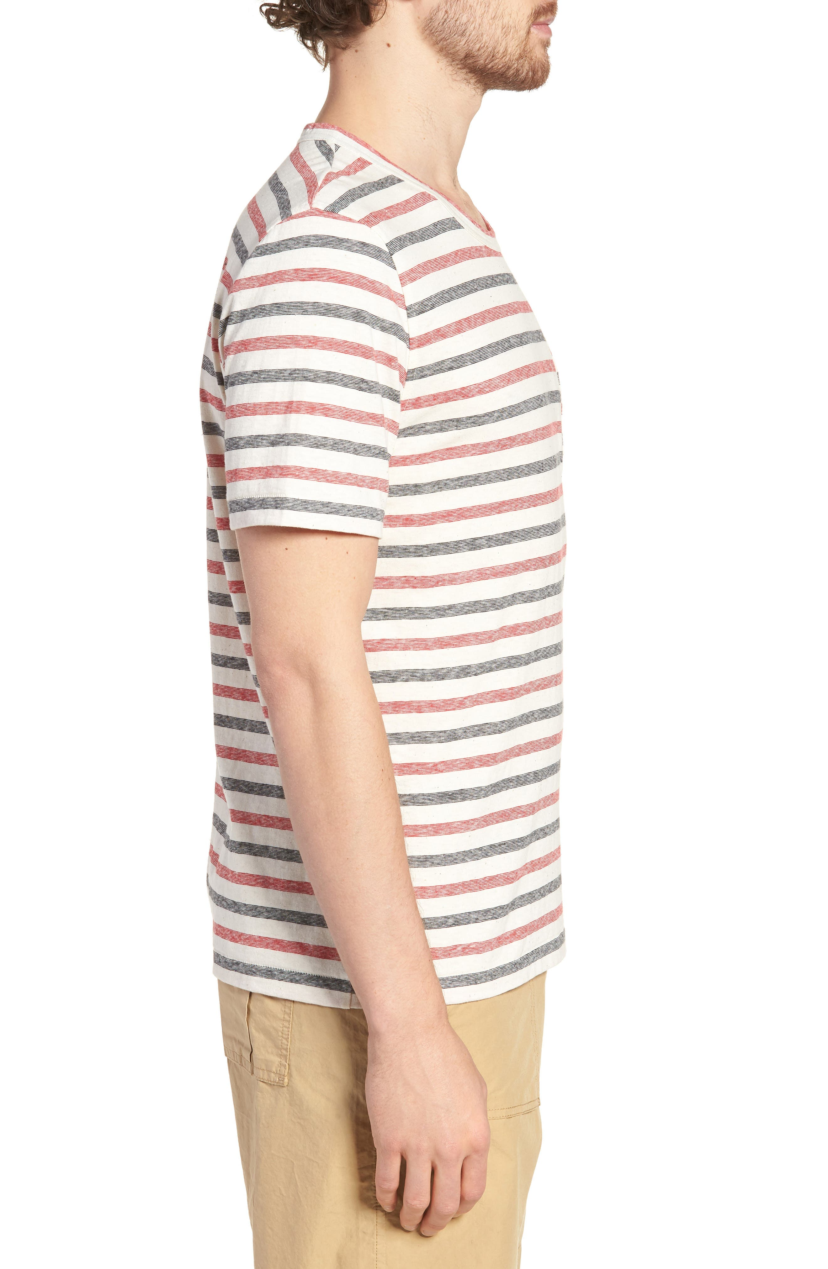 Striped T-Shirt,                             Alternate thumbnail 3, color,                             Red