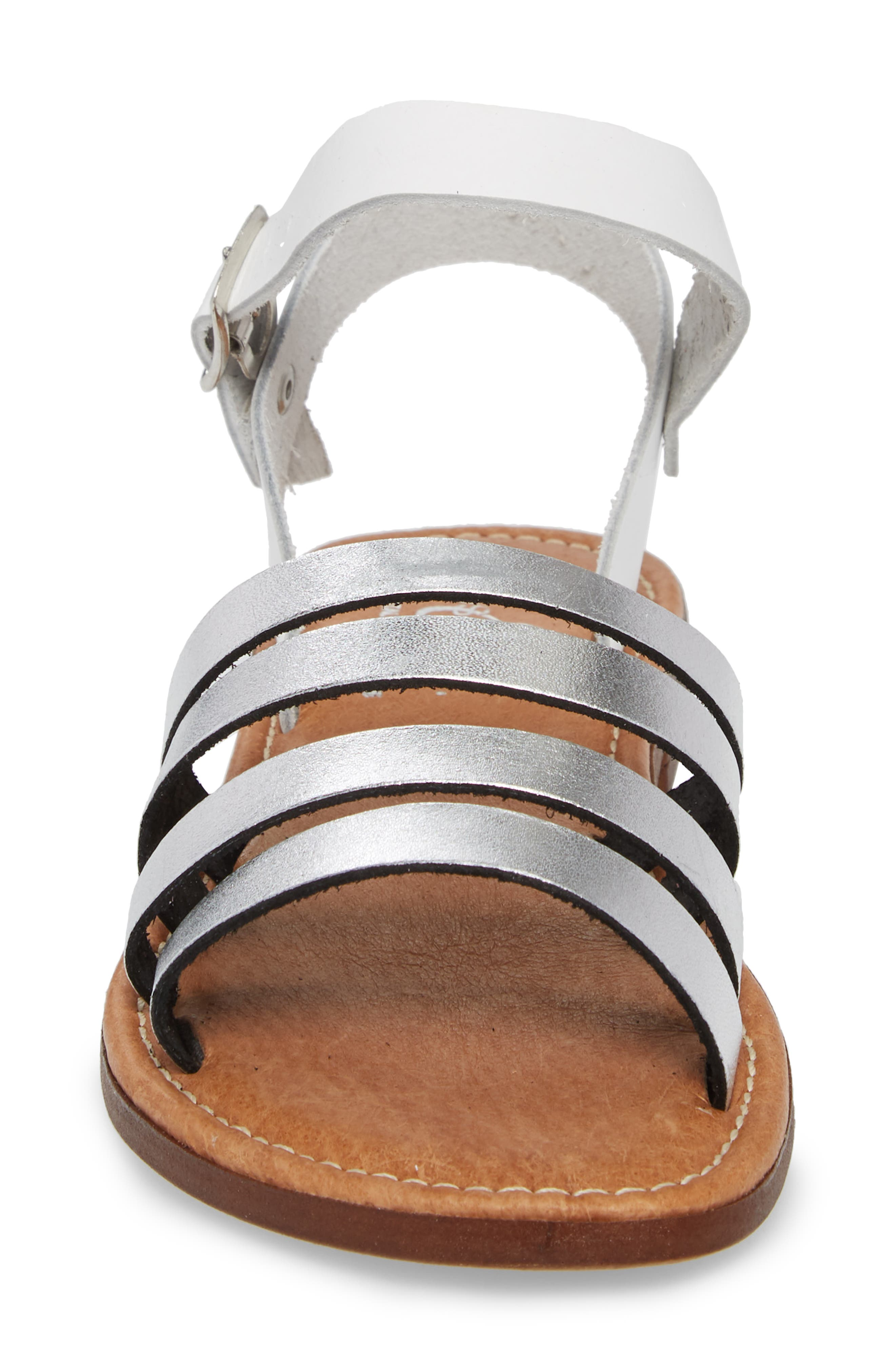 Isle Sandal,                             Alternate thumbnail 4, color,                             Silver/ White Leather