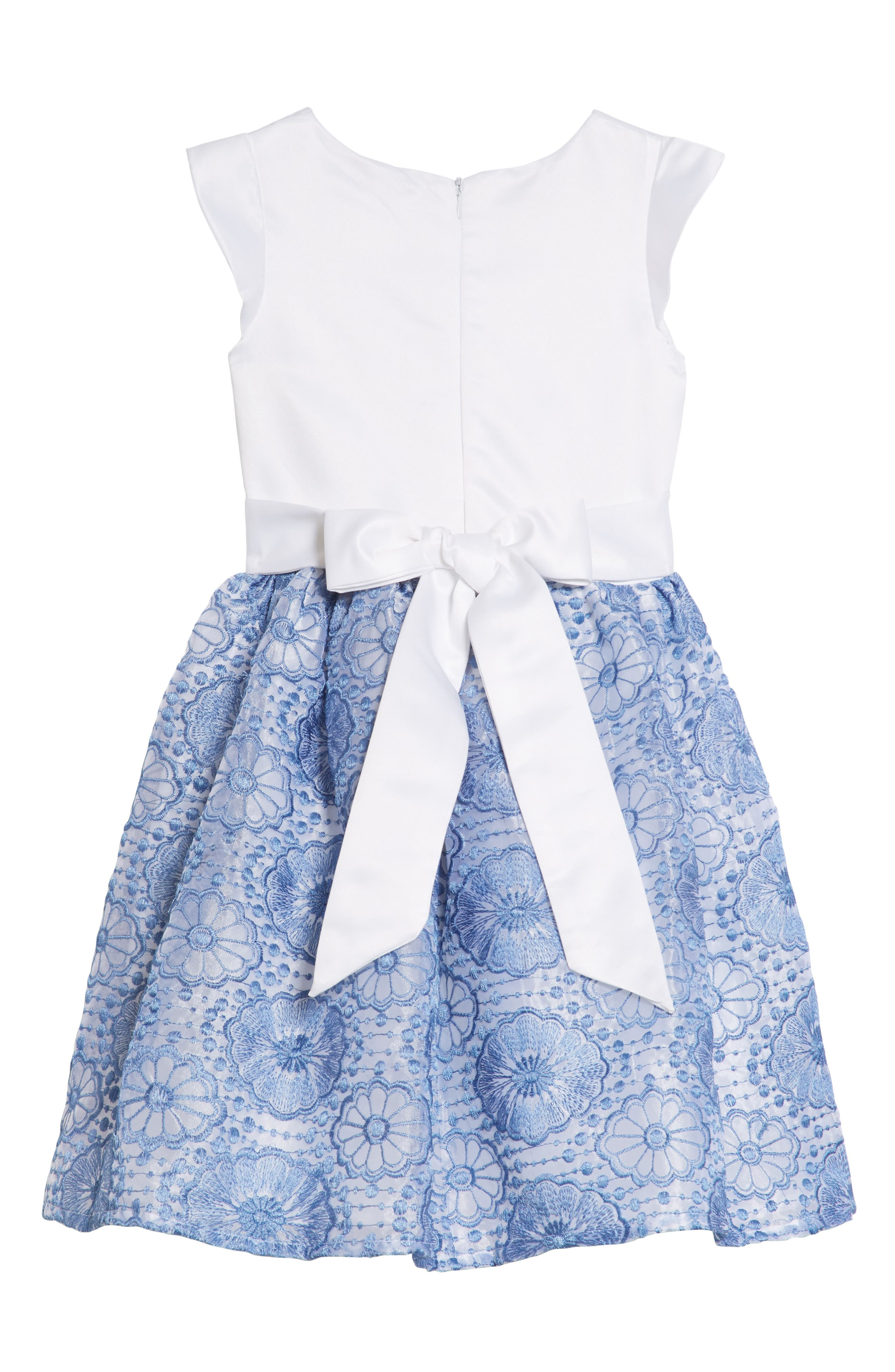 Lily Embroidered Dress,                             Alternate thumbnail 2, color,                             White/ Blue