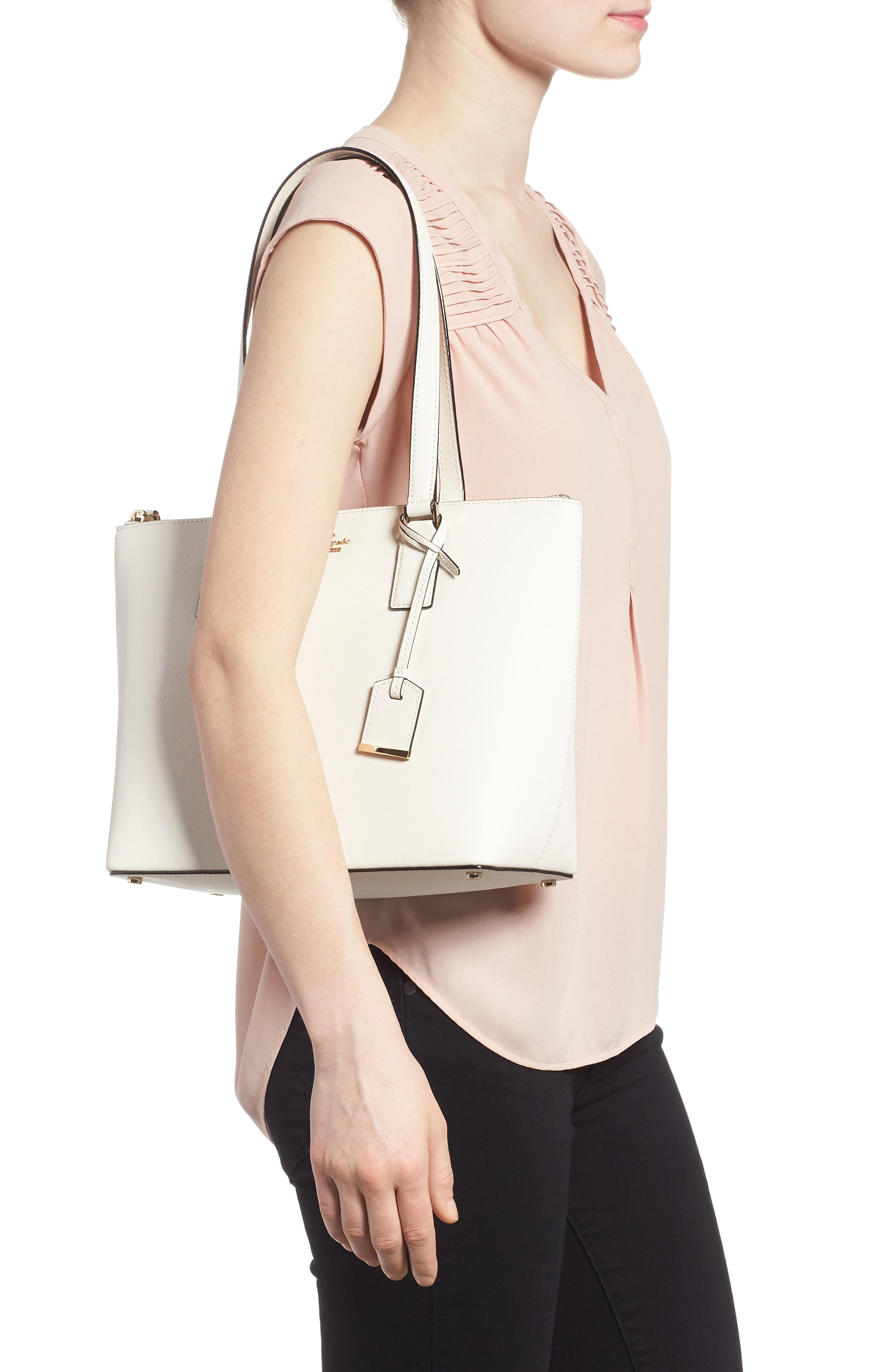 cameron street - small lucie leather tote,                             Alternate thumbnail 2, color,                             Cement