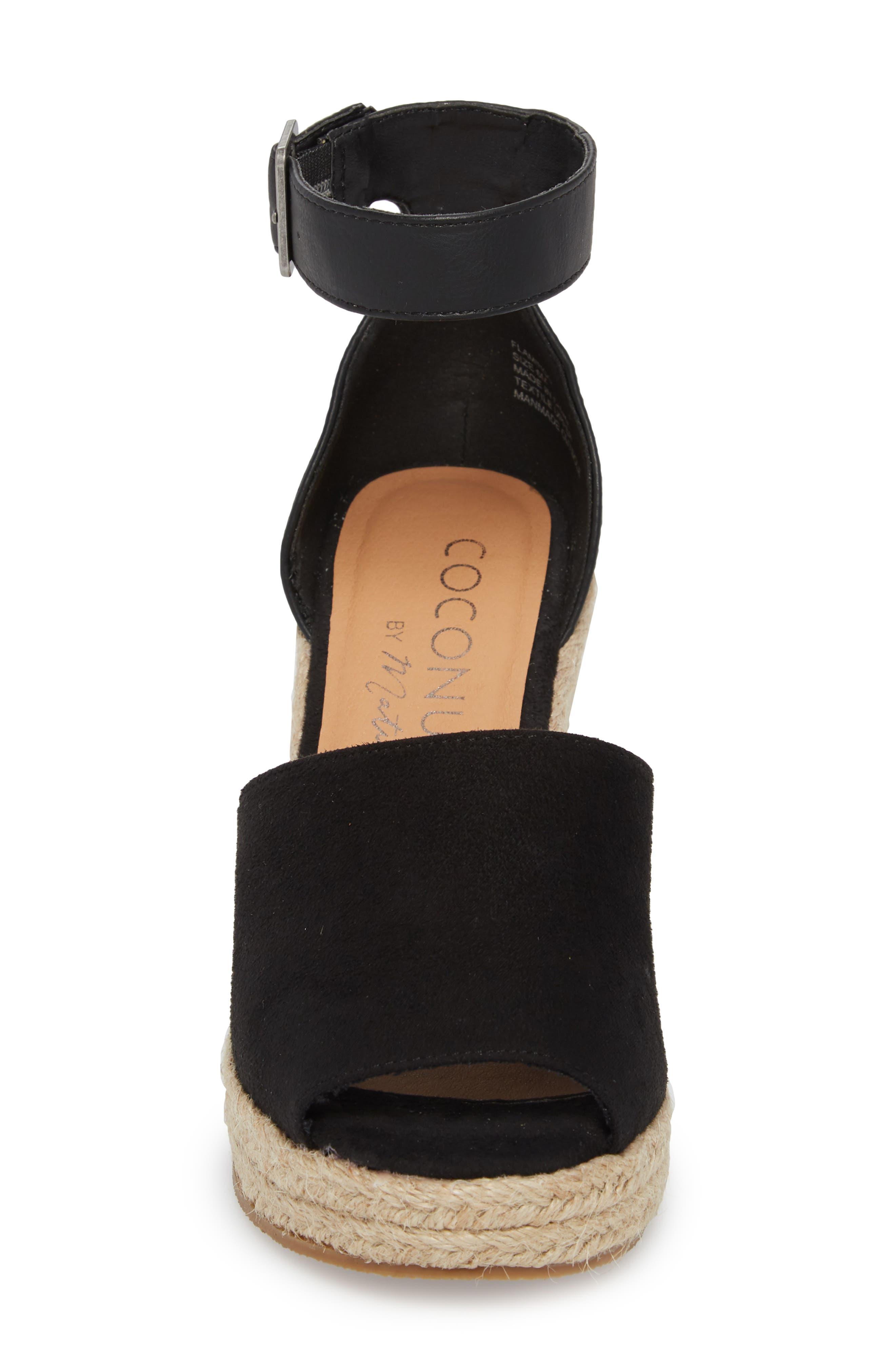 Flamingo Wedge Sandal,                             Alternate thumbnail 4, color,                             Black Suede