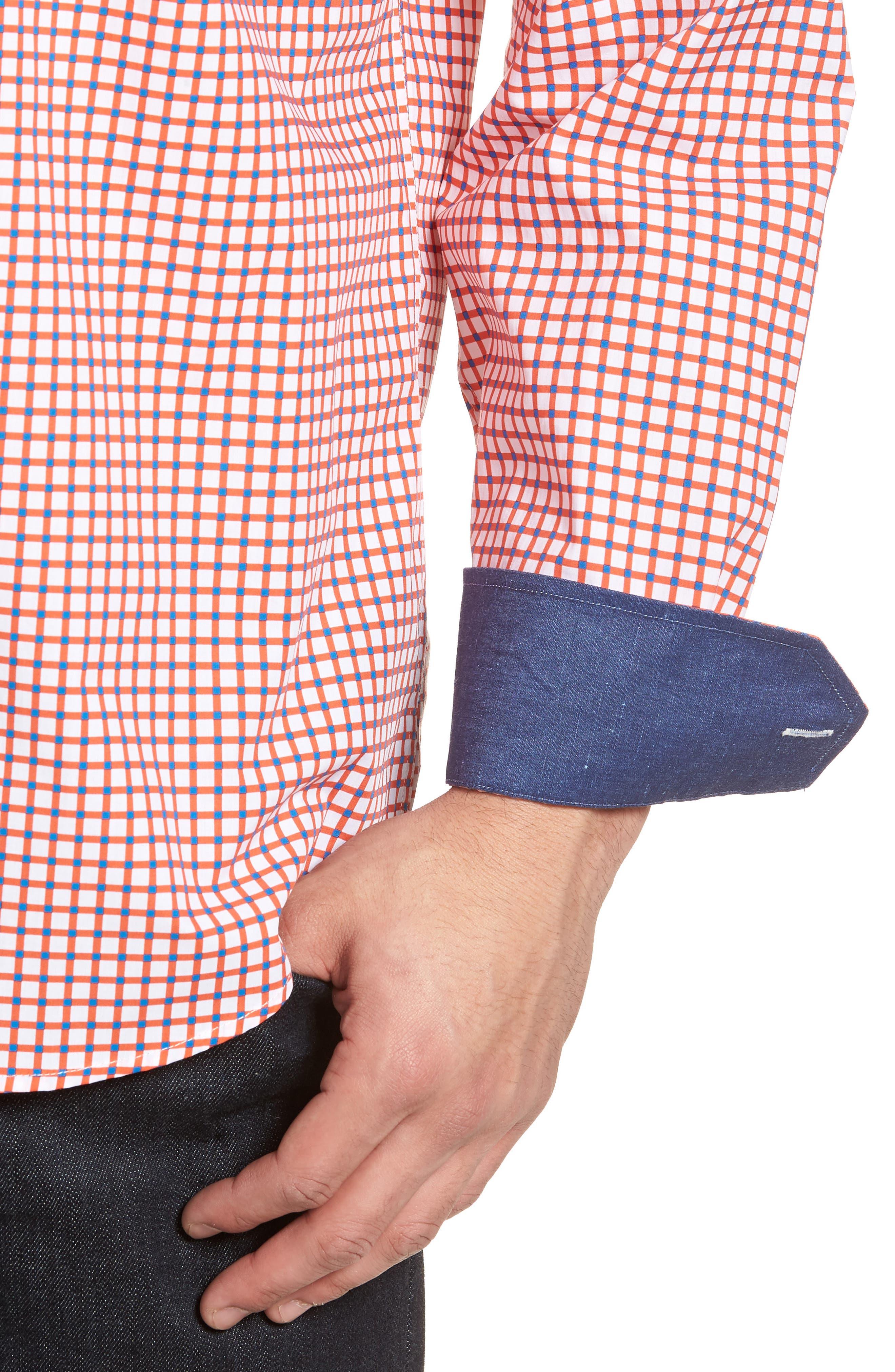 Classic Fit Check Sport Shirt,                             Alternate thumbnail 4, color,                             Tangerine