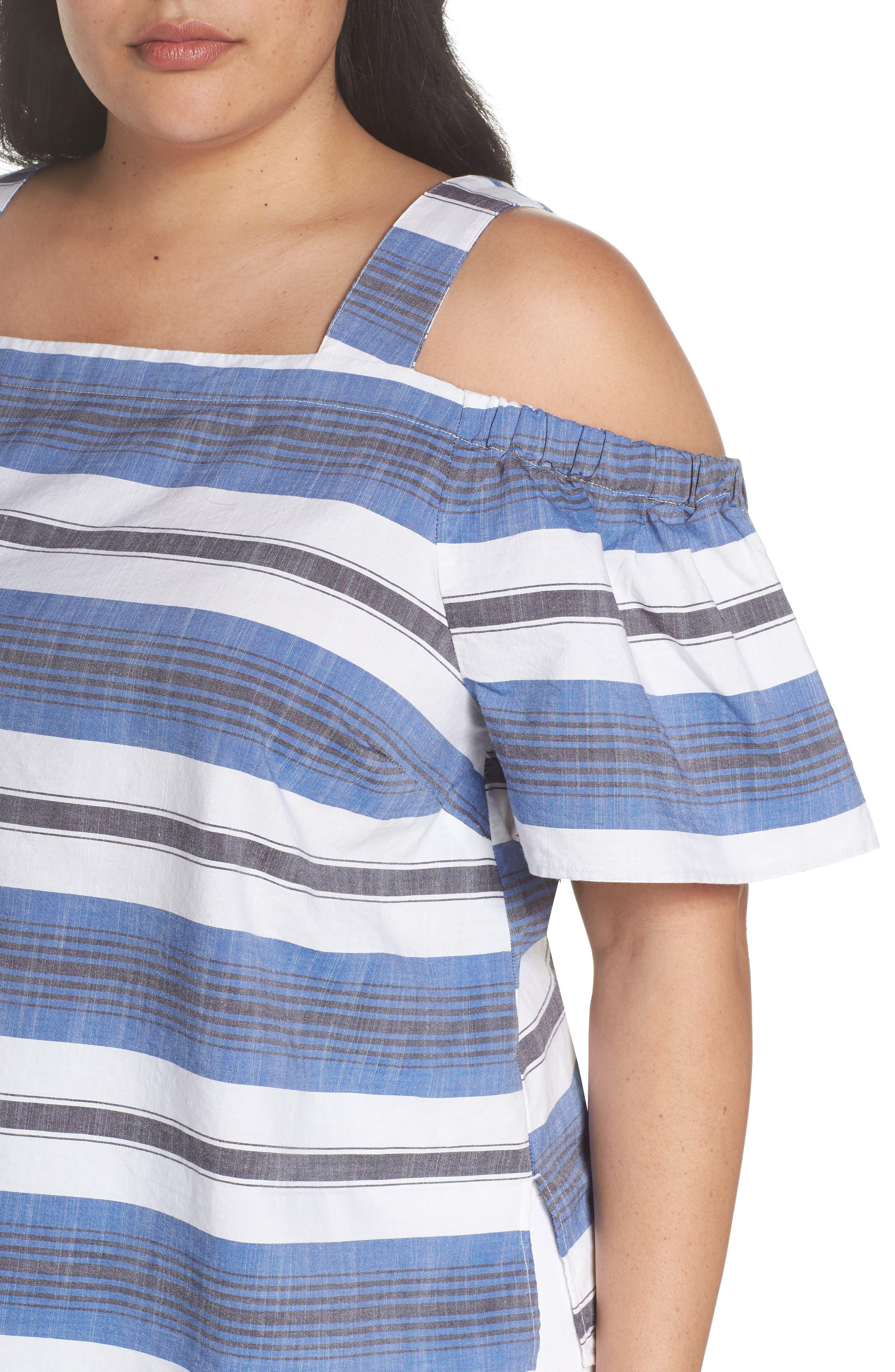Cold Shoulder Stripe Top,                             Alternate thumbnail 4, color,                             Blue Multi