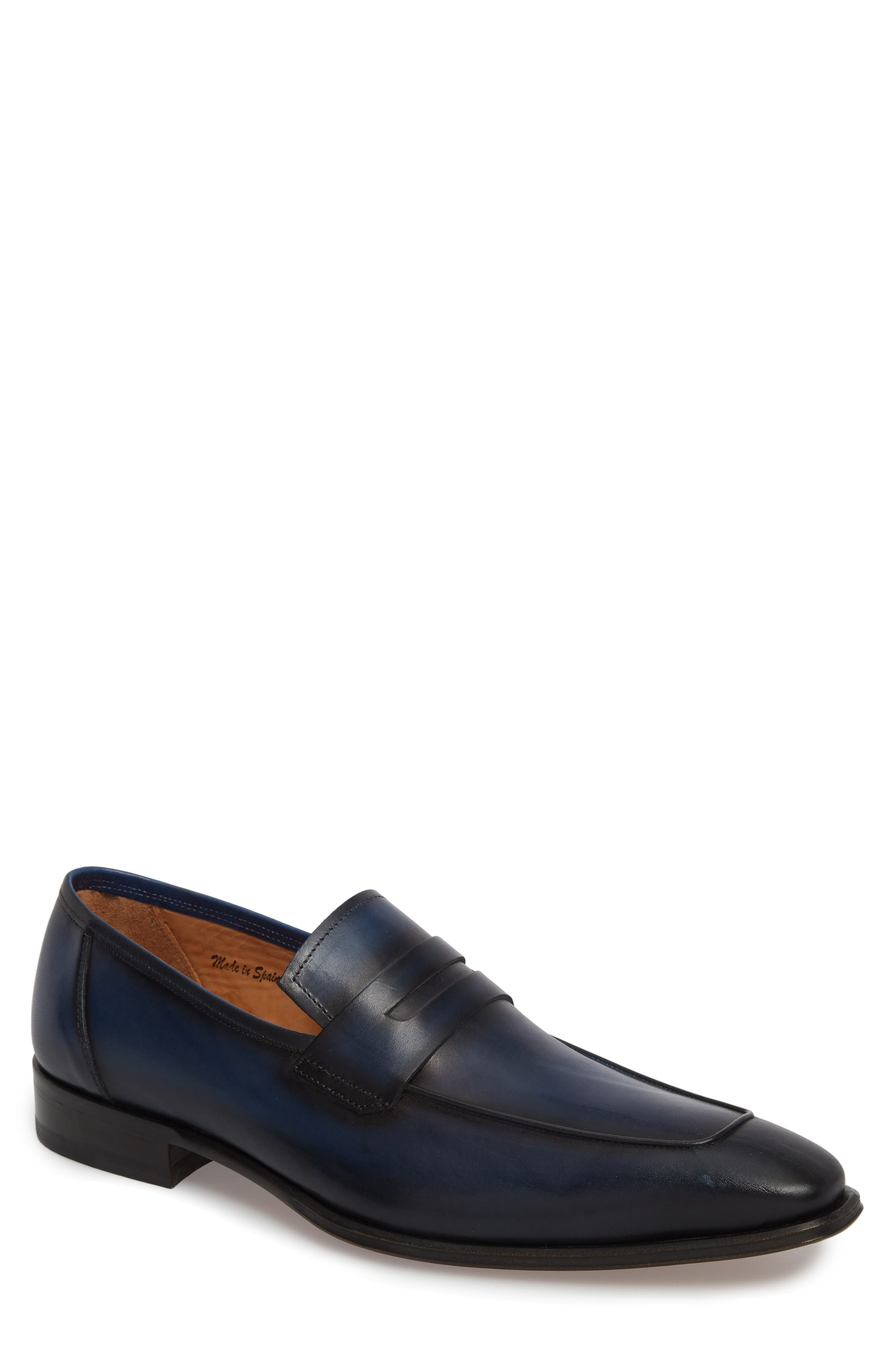Marcus Penny Loafer,                             Main thumbnail 1, color,                             Mid Blue Leather