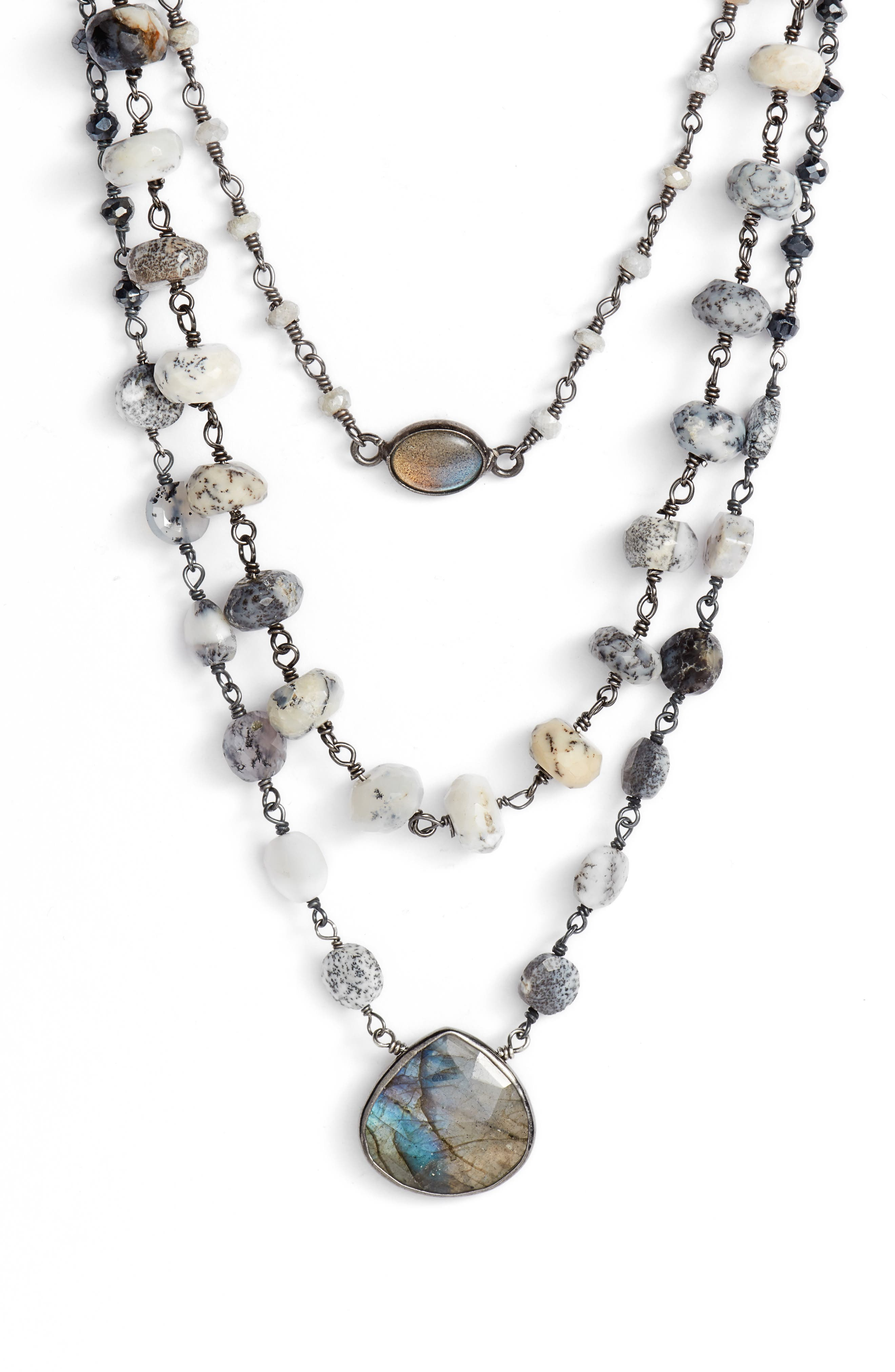 Multistrand Necklace,                         Main,                         color, Mystic White/ Labardorite