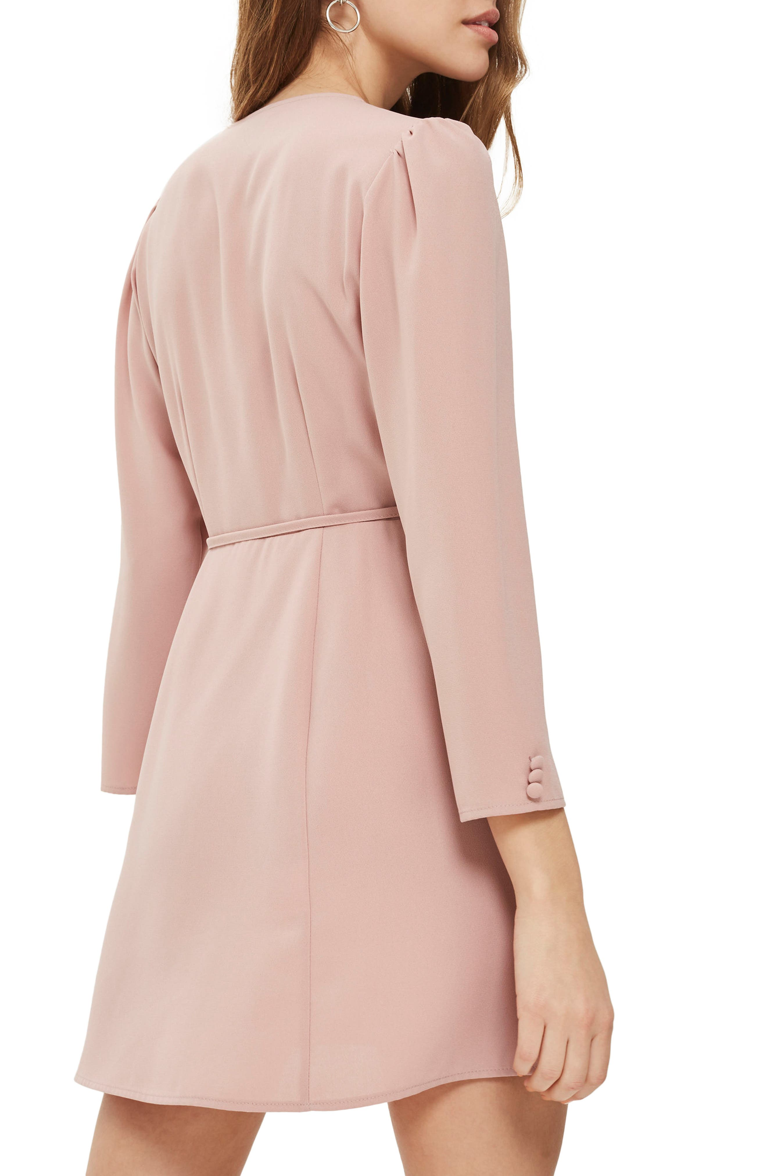 Crepe Wrap Minidress,                             Alternate thumbnail 2, color,                             Blush