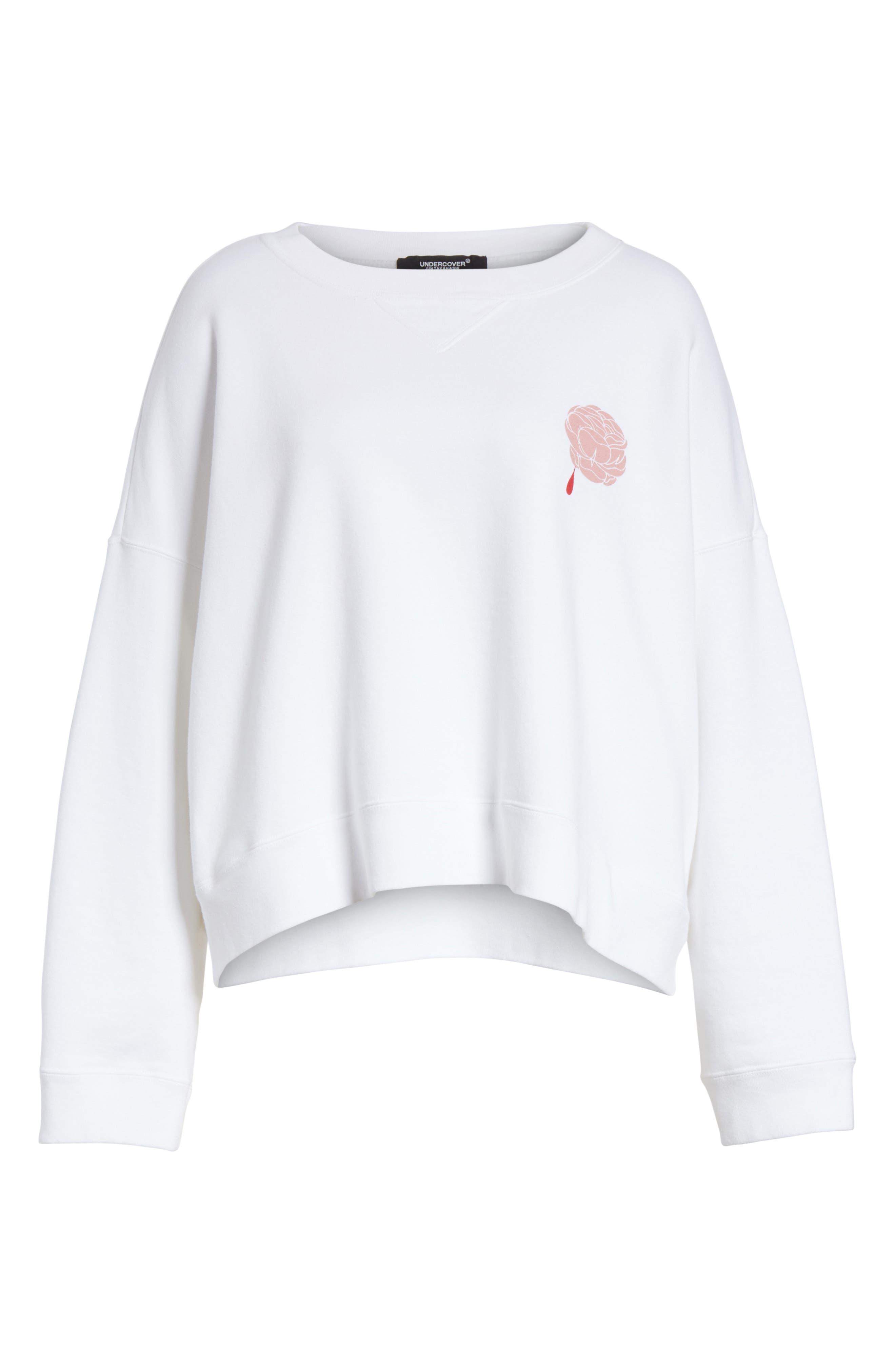 Print Rose Sweatshirt,                             Alternate thumbnail 6, color,                             White