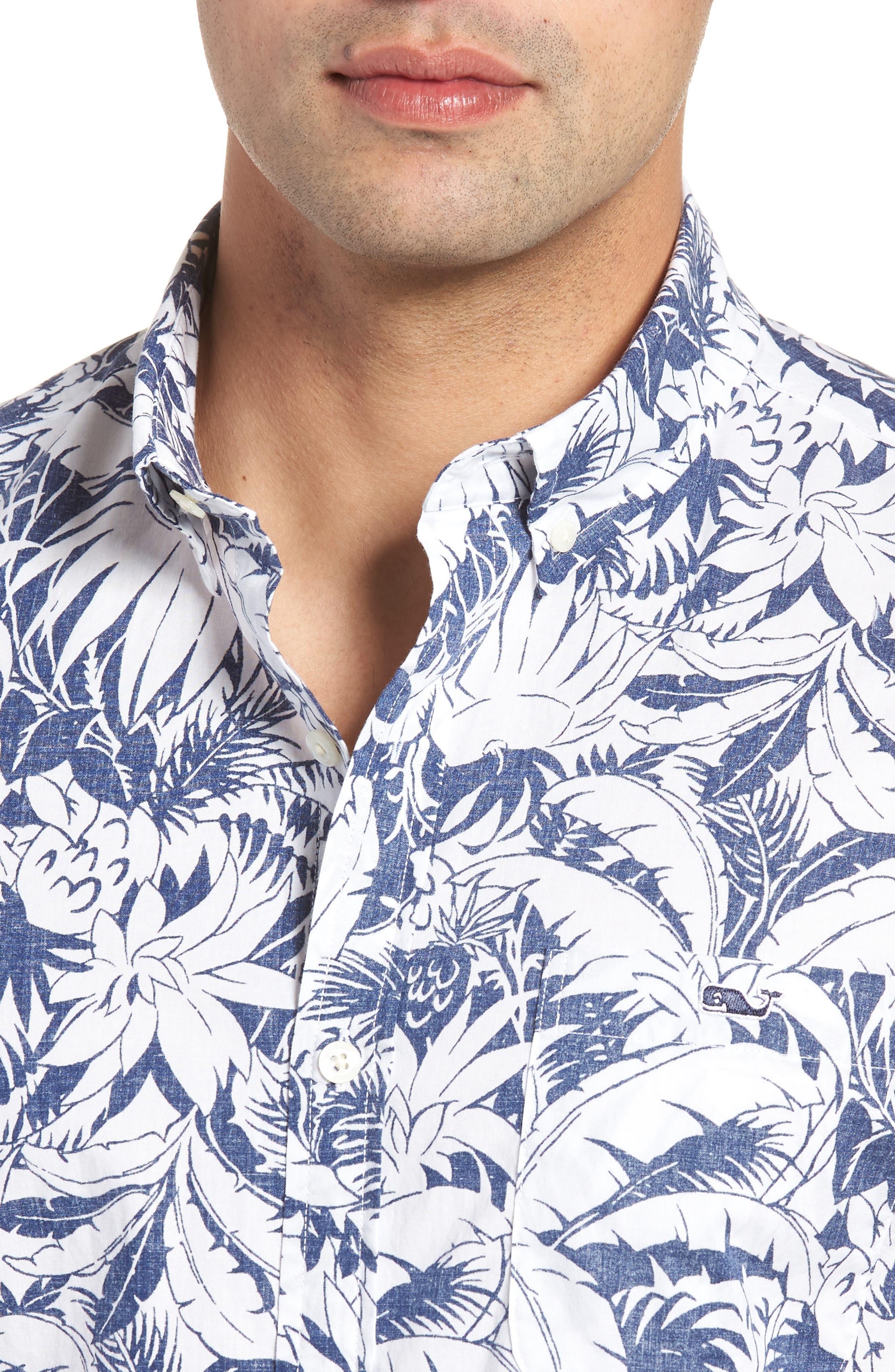 Slim Fit Print Short Sleeve Sport Shirt,                             Alternate thumbnail 4, color,                             Deep Bay
