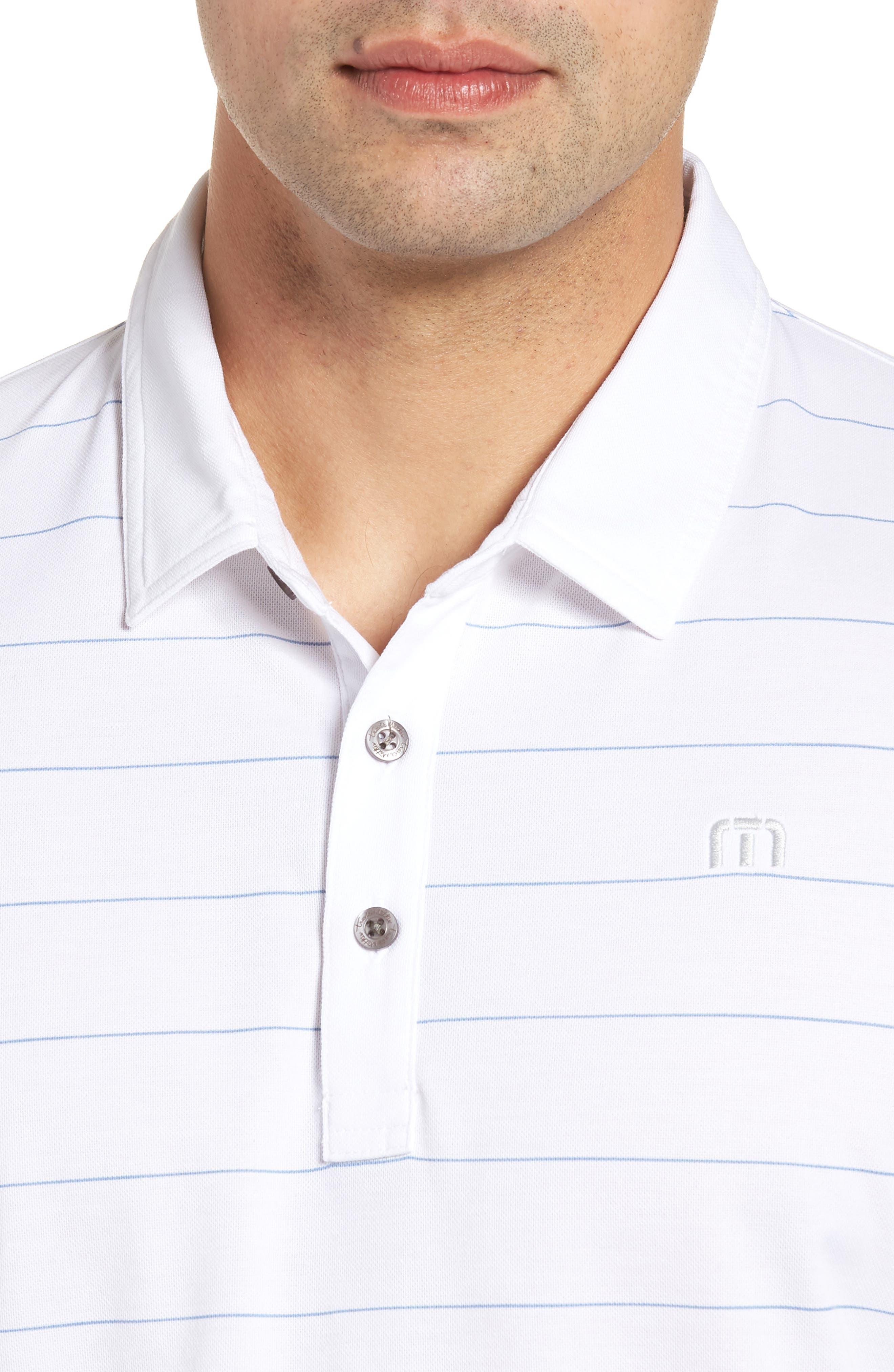 Stripe Cotton Blend Polo,                             Alternate thumbnail 4, color,                             White
