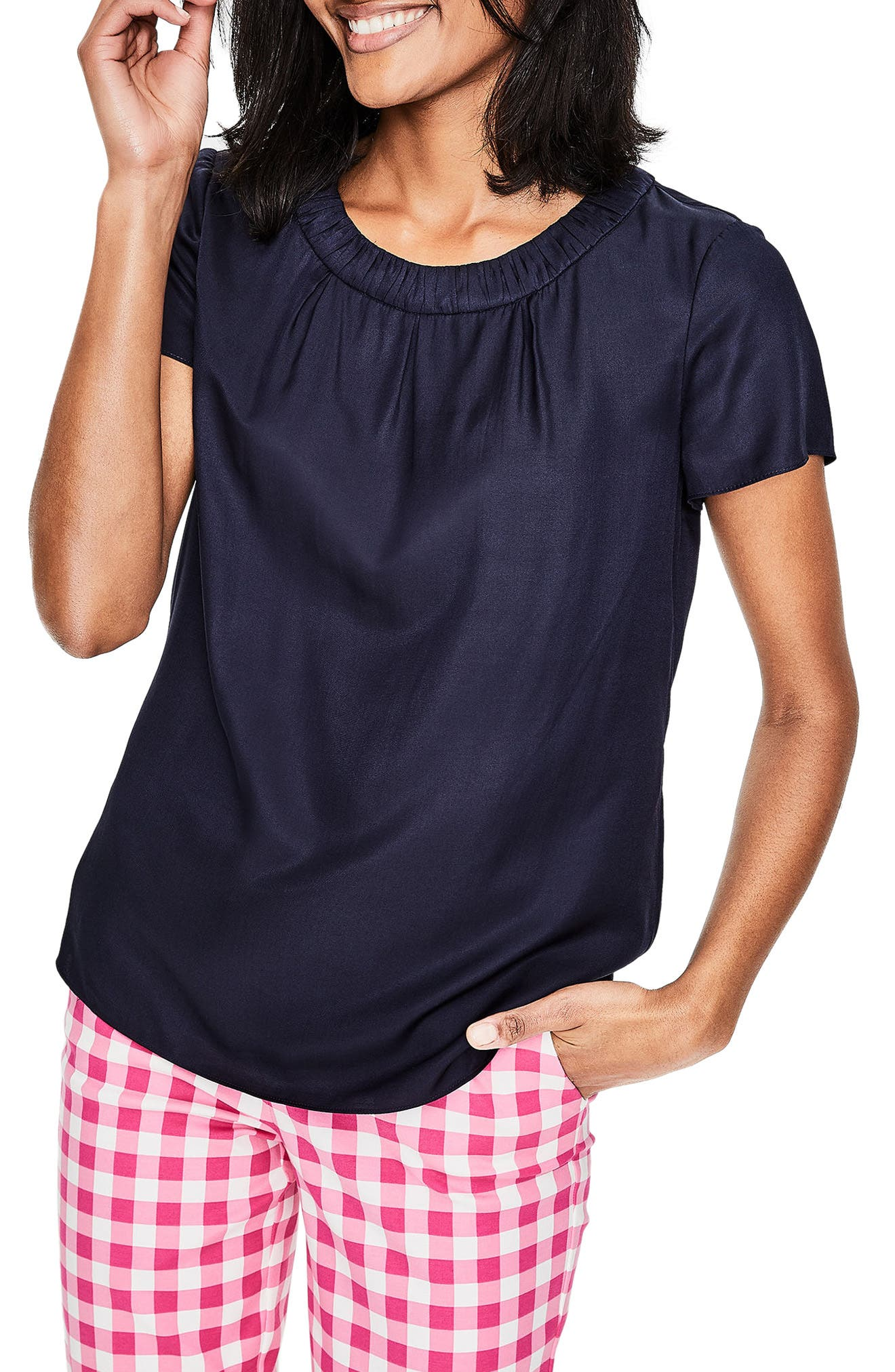 Gathered Neck Silk Blend Top,                         Main,                         color, Navy
