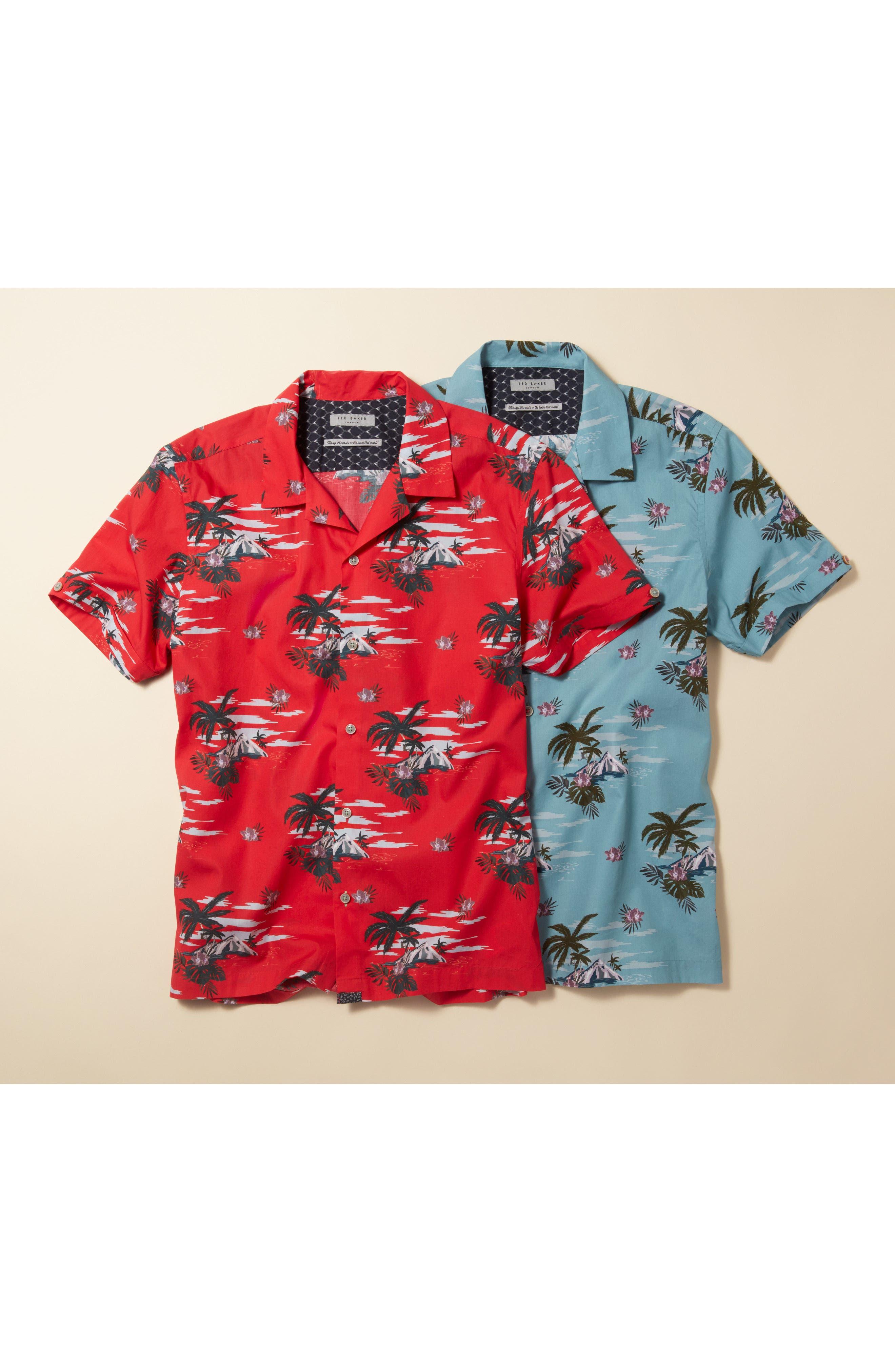 Slim Fit Tropical Pattern Sport Shirt,                             Alternate thumbnail 7, color,