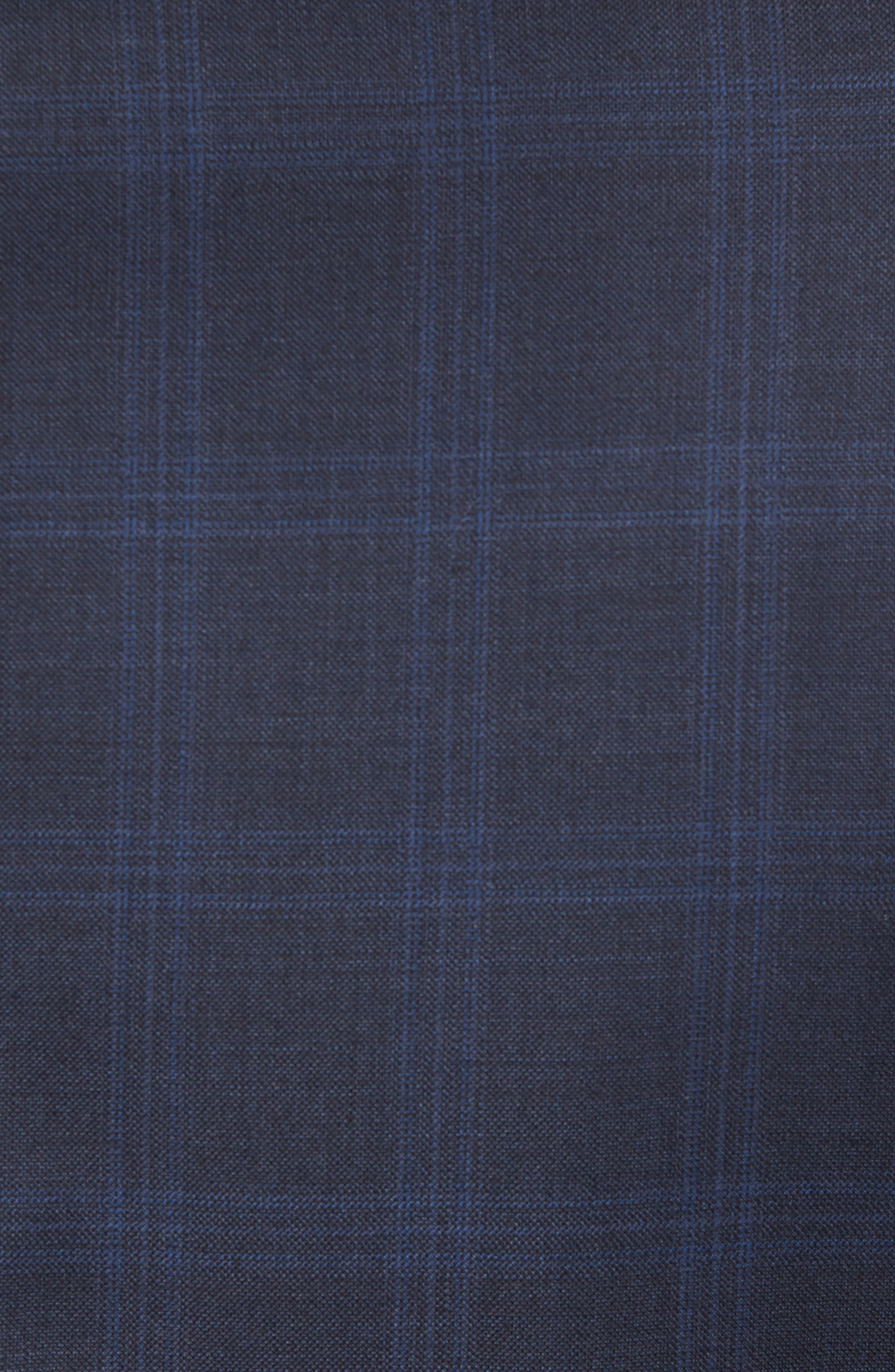 Classic Fit Plaid Wool Suit,                             Alternate thumbnail 7, color,                             Navy
