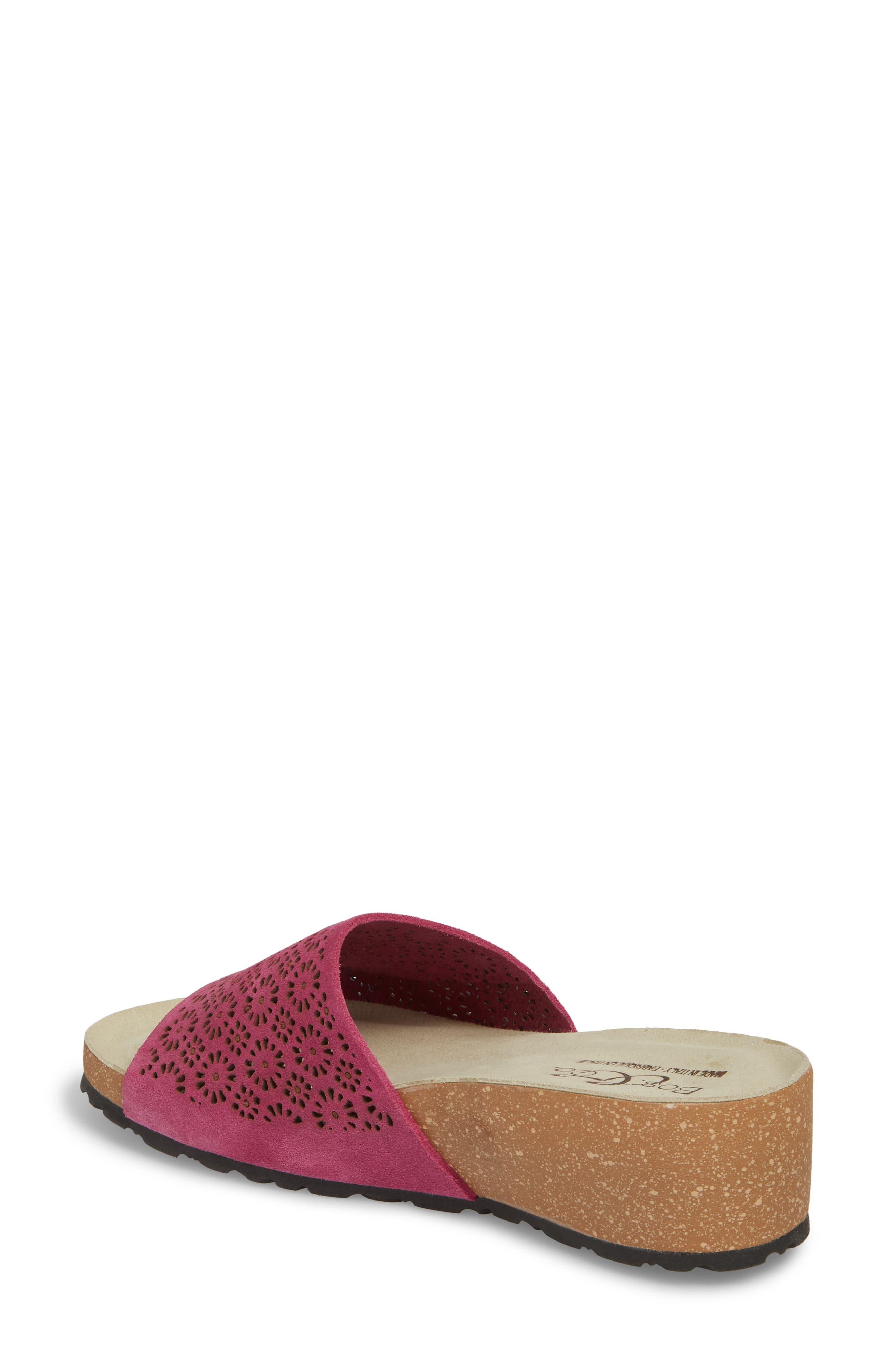 Loa Wedge Slide Sandal,                             Alternate thumbnail 2, color,                             Fuchsia Suede