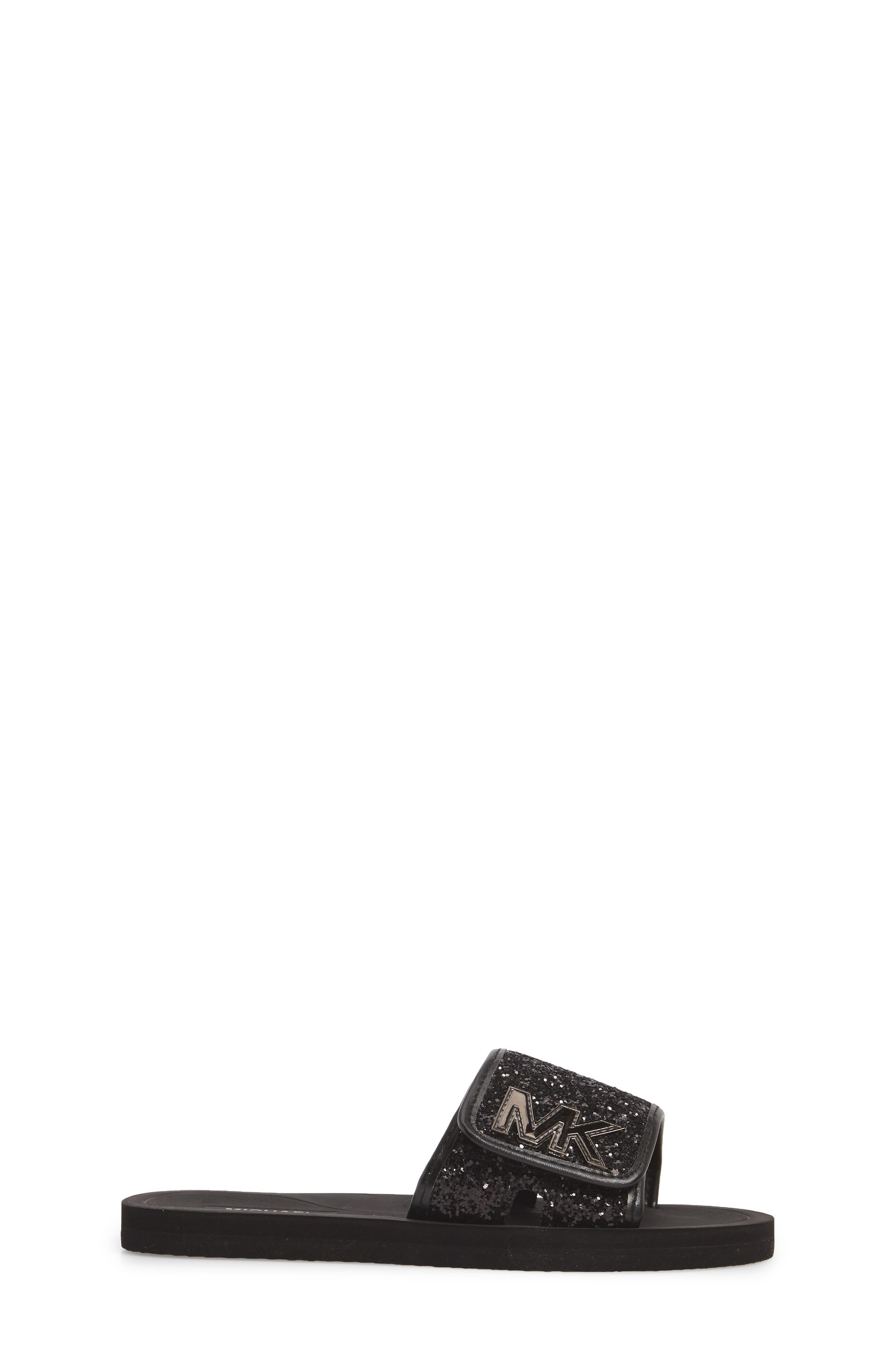 Eli Glitter Slide Sandal,                             Alternate thumbnail 3, color,                             Black