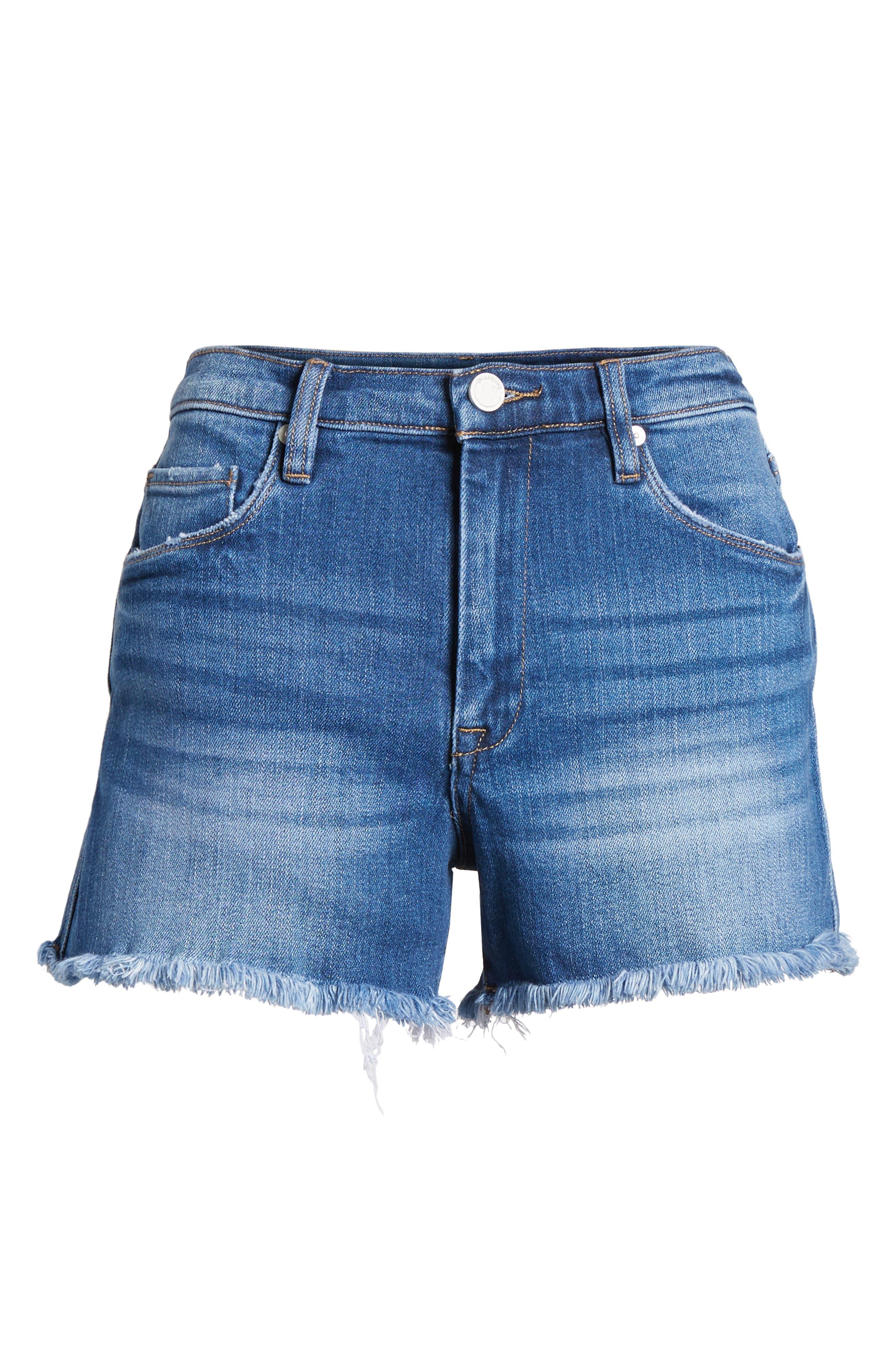 The Lenox High Waist Cutoff Denim Shorts,                             Alternate thumbnail 7, color,                             Low Key