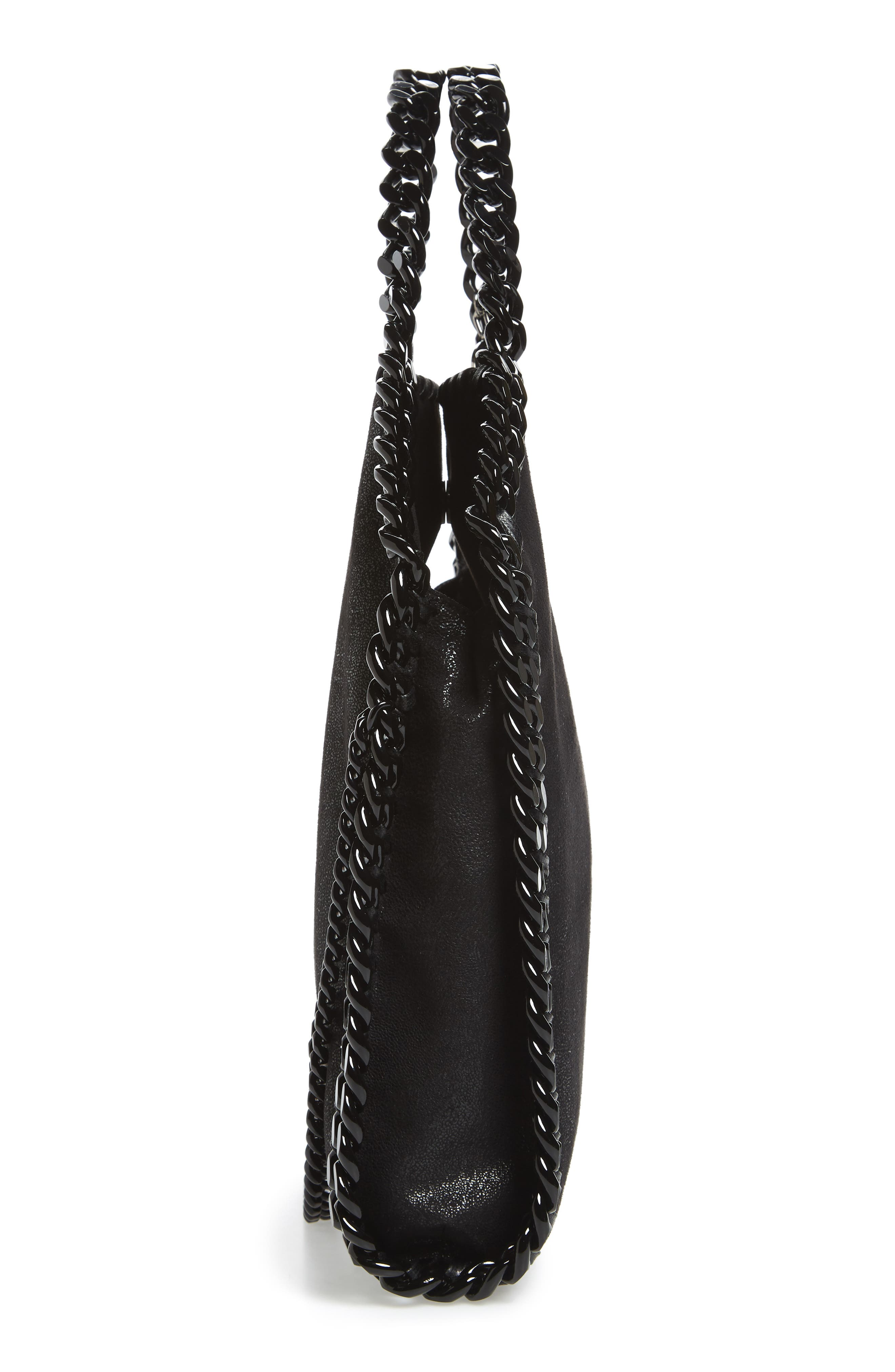 Falabella Shaggy Deer Faux Leather Tote,                             Alternate thumbnail 4, color,                             Black