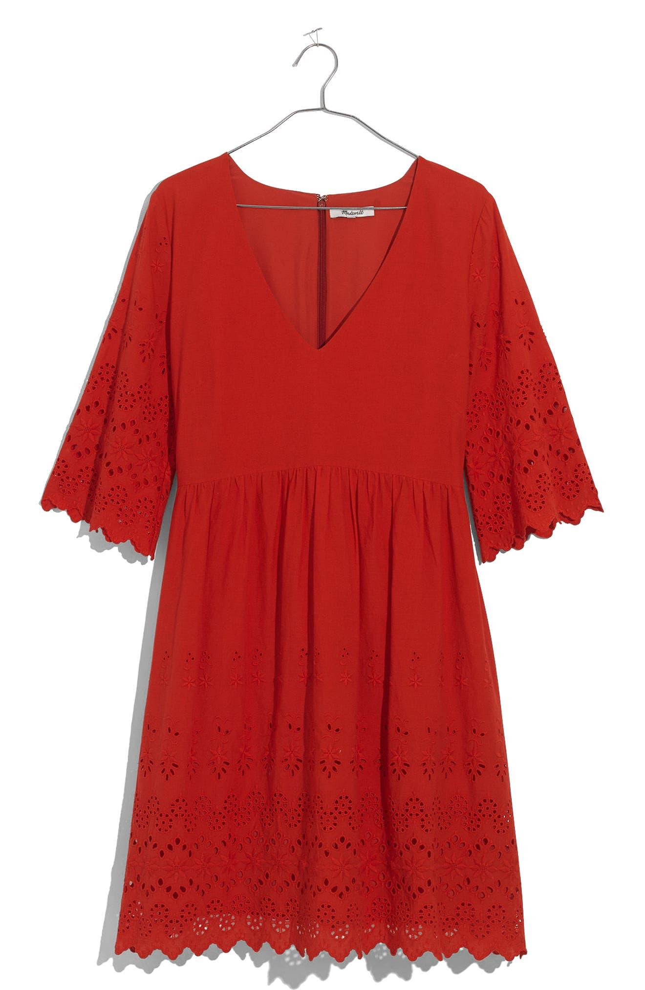 Eyelet Lattice Dress,                             Alternate thumbnail 4, color,                             Bright Poppy