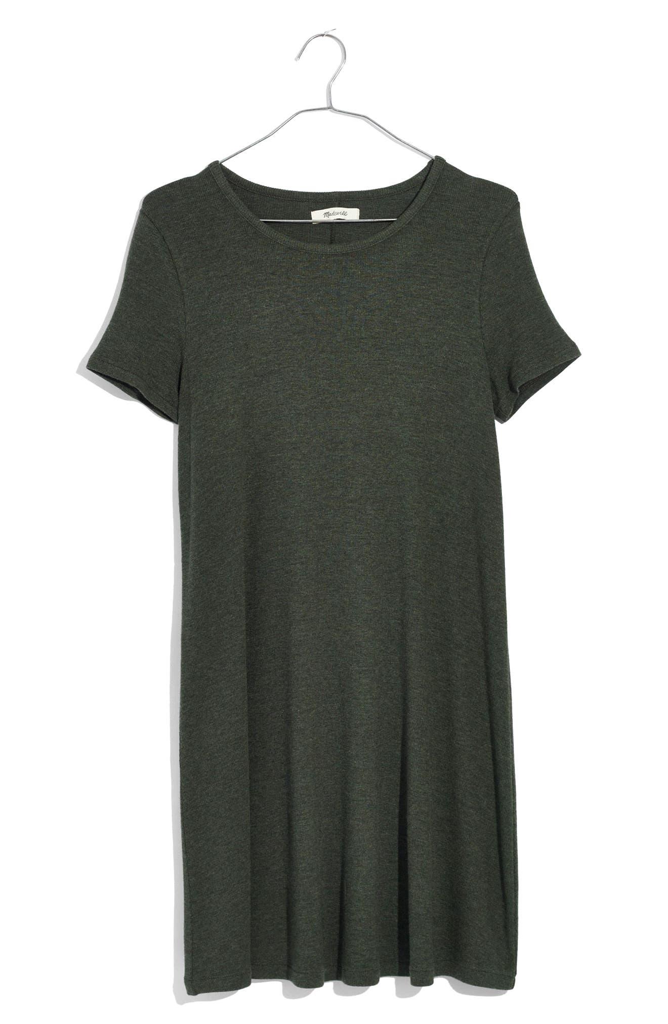 Ribbed Swingy T-Shirt Dress,                             Alternate thumbnail 4, color,                             Heather Underwood