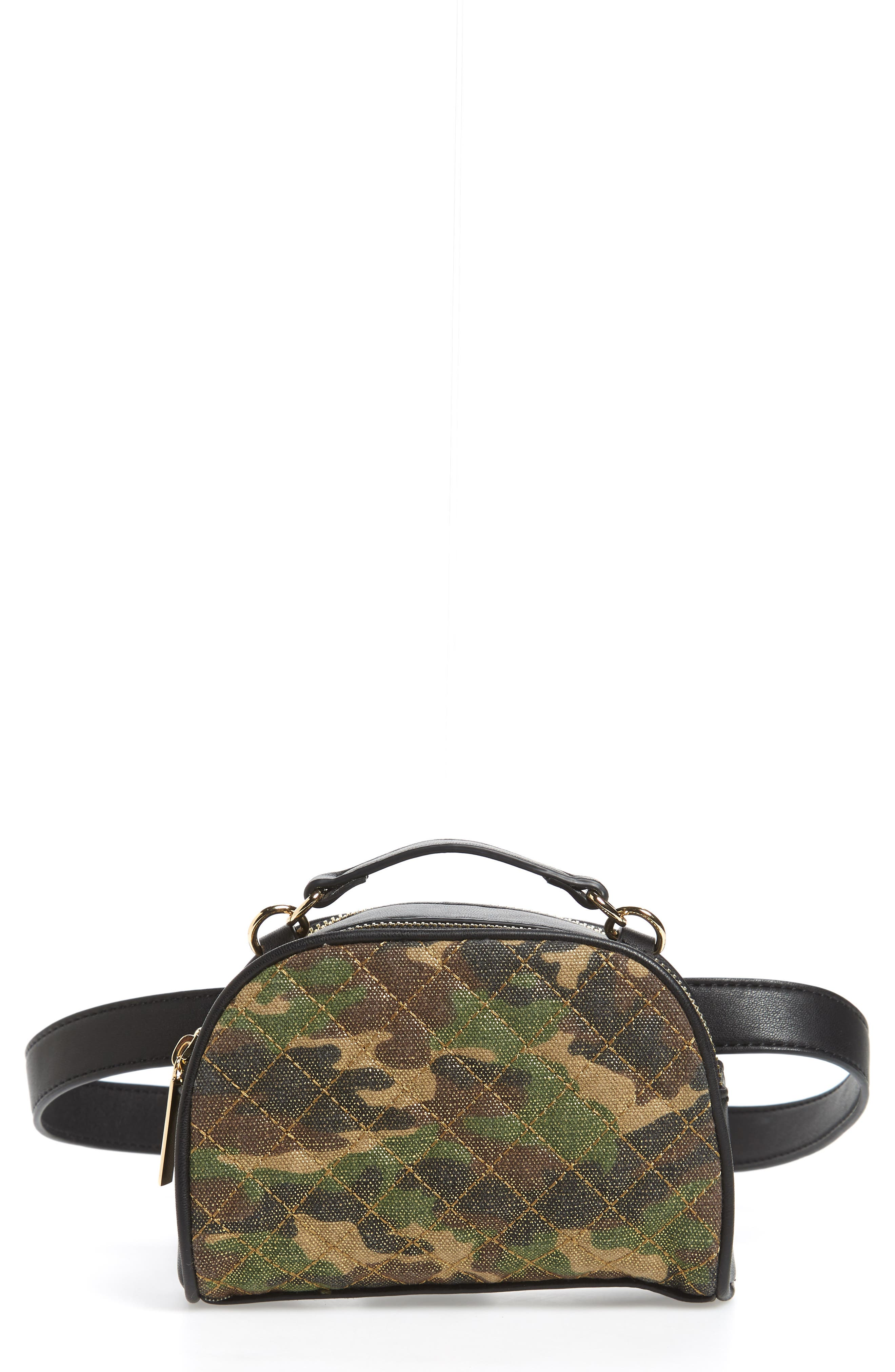 Mali + Lili Quilted Camouflage Belt Bag,                             Main thumbnail 1, color,                             Camouflage