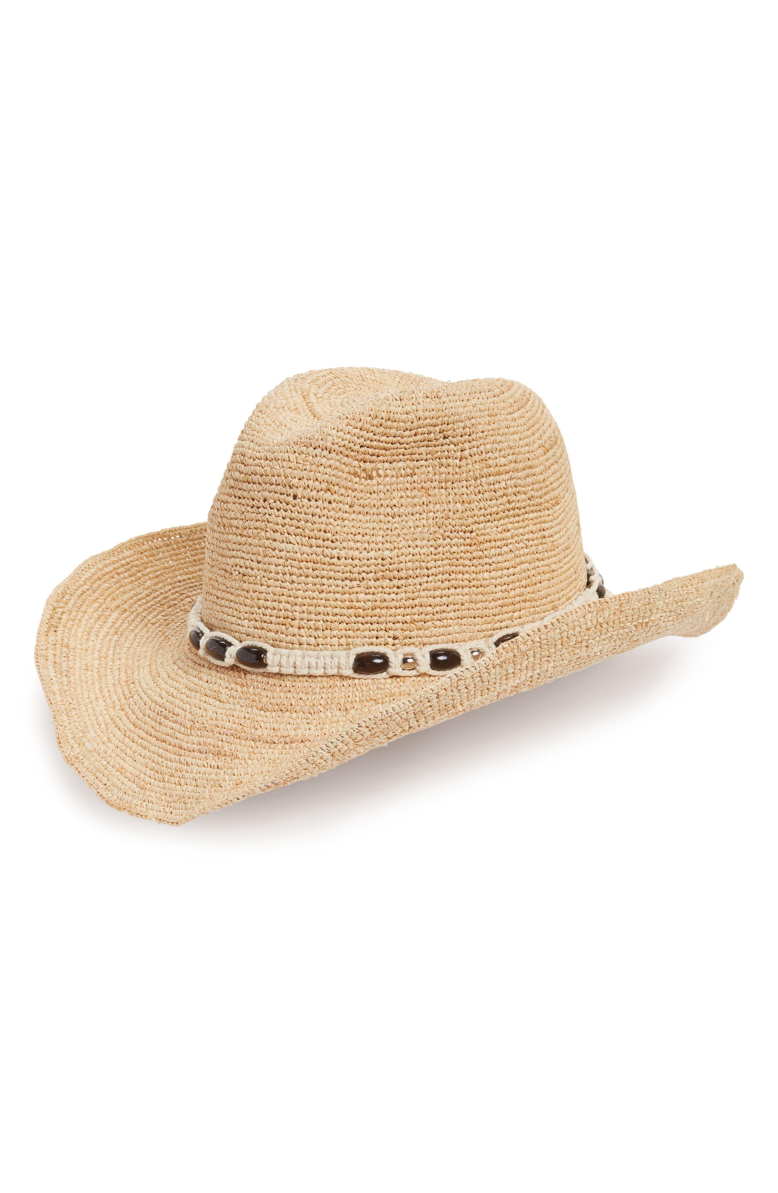 Raffia Cowboy Hat with Macramé Trim,                         Main,                         color, Natural Combo
